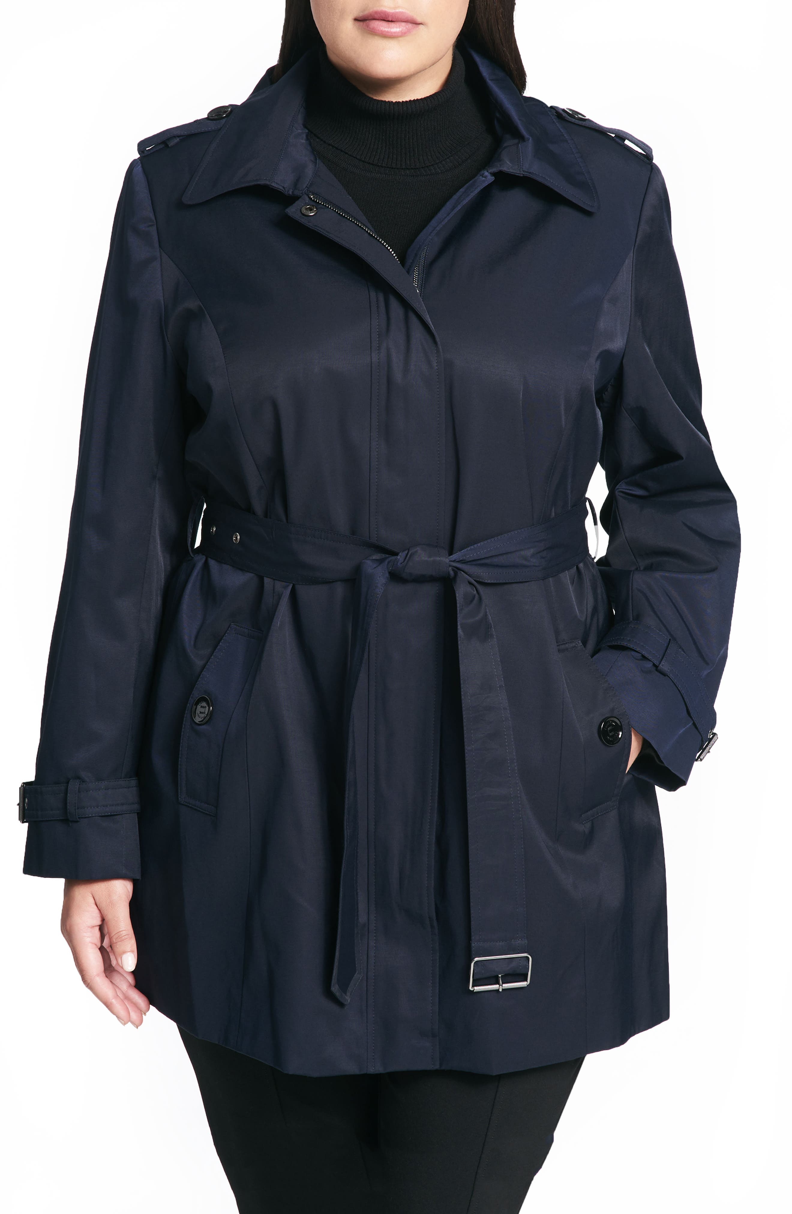 Calvin Klein Poplin Trench Coat (Plus Size)