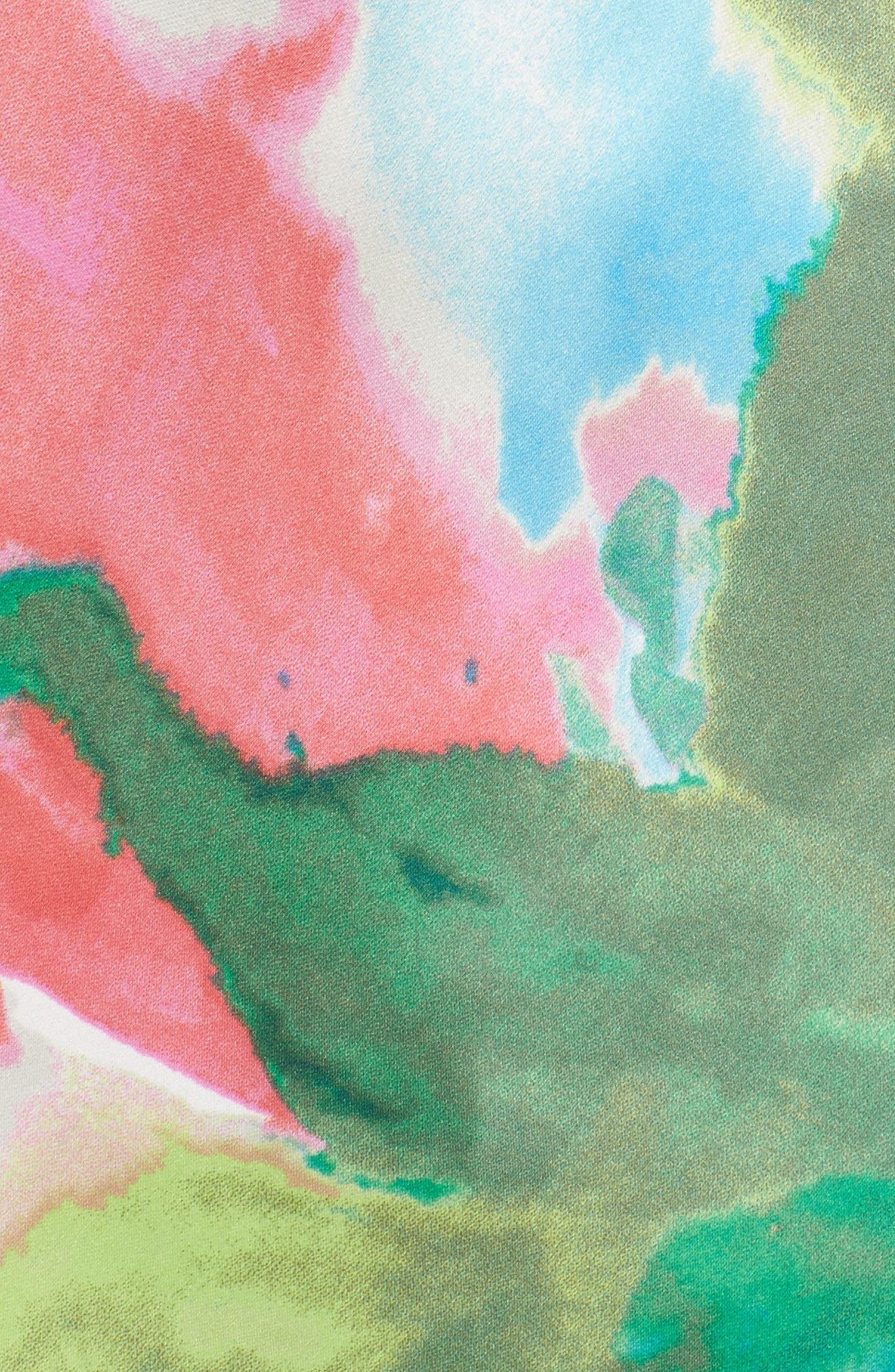 Alternate Image 4  - Natori Water Lily Print Satin Nightgown