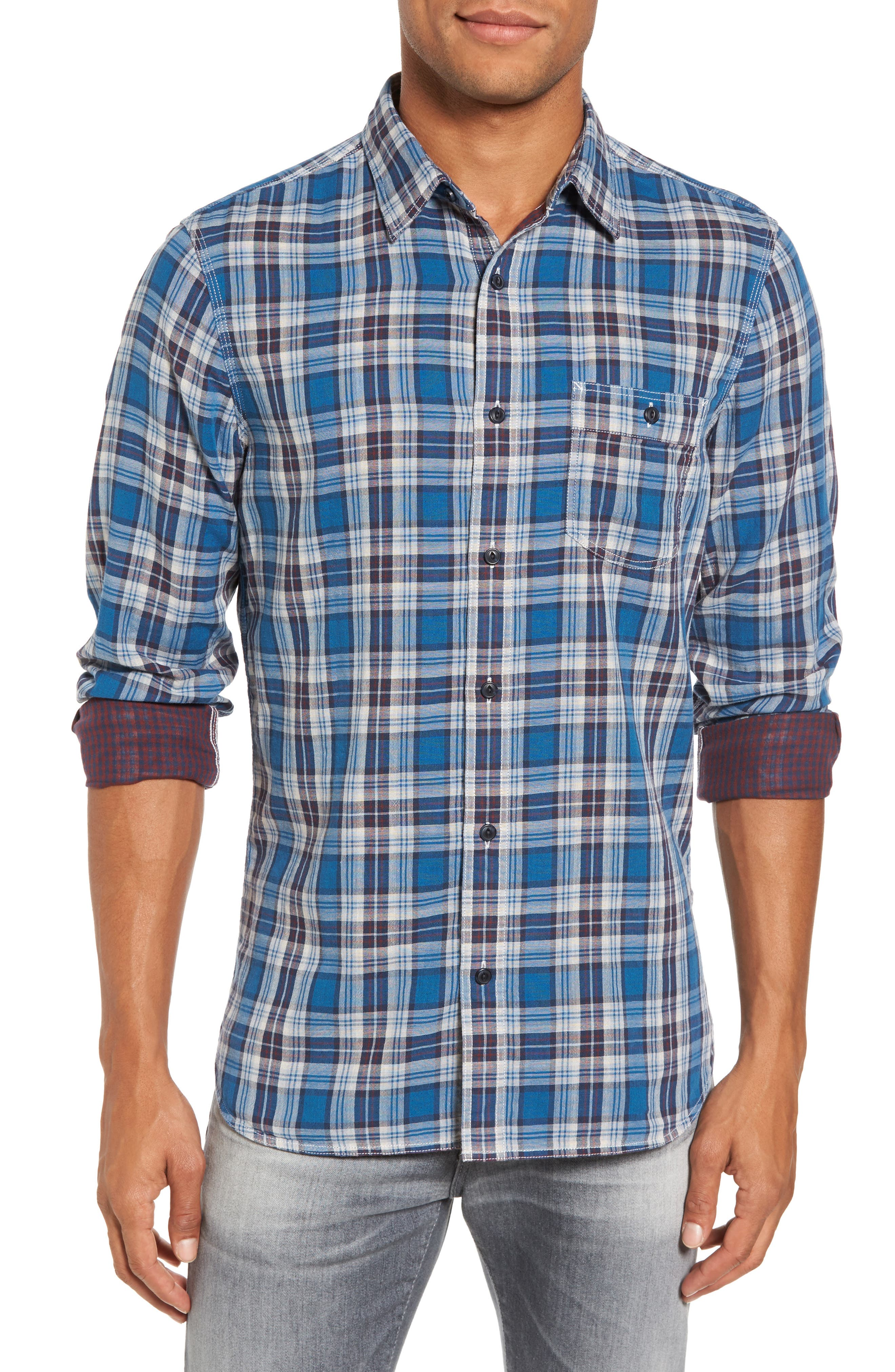 Workwear Duofold Plaid Sport Shirt,                         Main,                         color, Teal Ocean Ivory Plaid Duofold