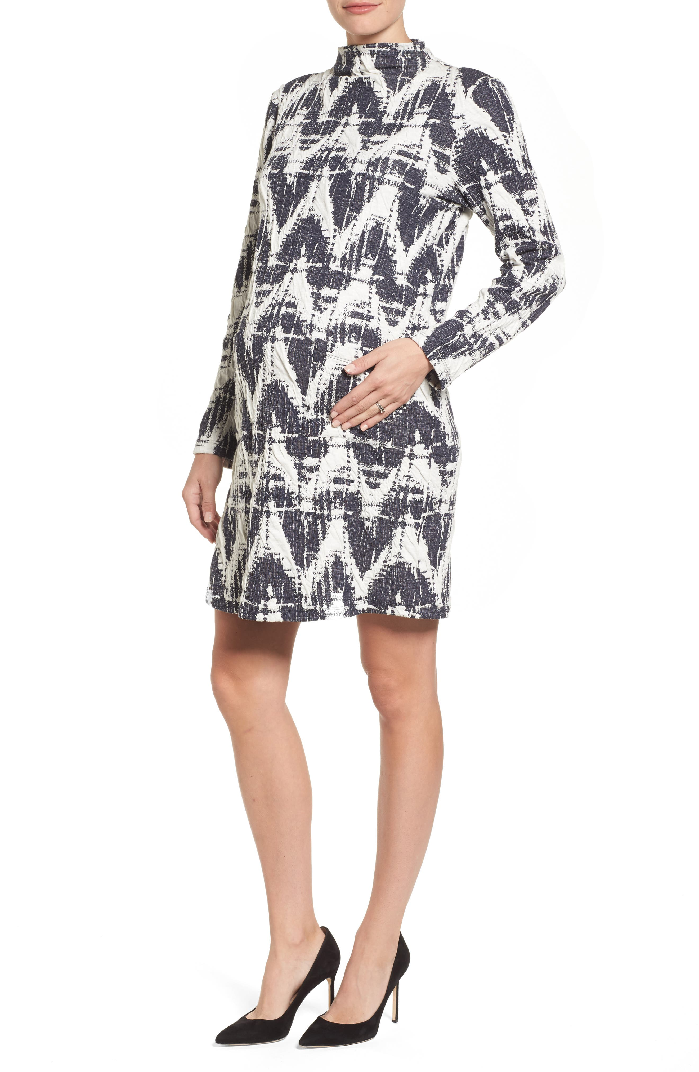 Amelia Print Texture Knit Maternity Dress,                         Main,                         color, Navy Print