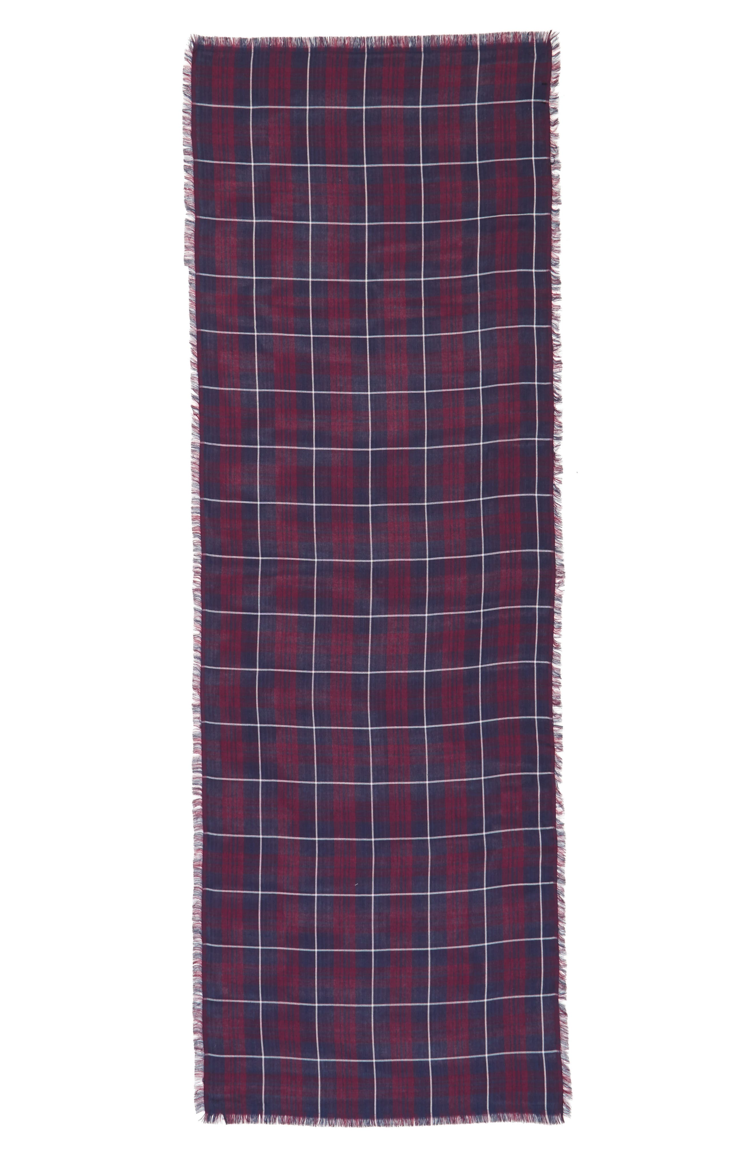 David & Young Plaid Oblong Scarf,                             Alternate thumbnail 2, color,                             Blue/ Red