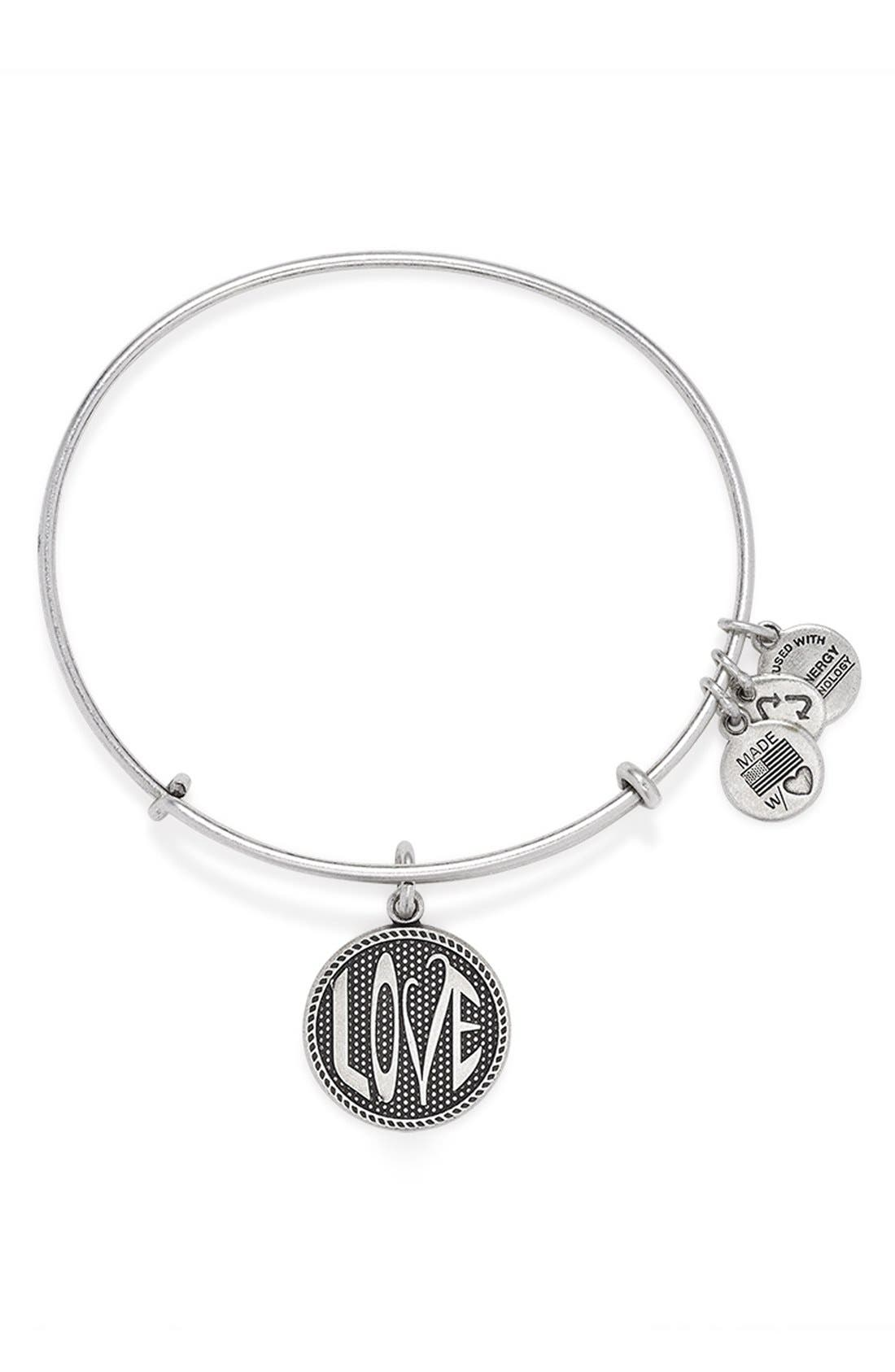 'Open Love' Expandable Wire Bangle,                         Main,                         color, Russian Silver