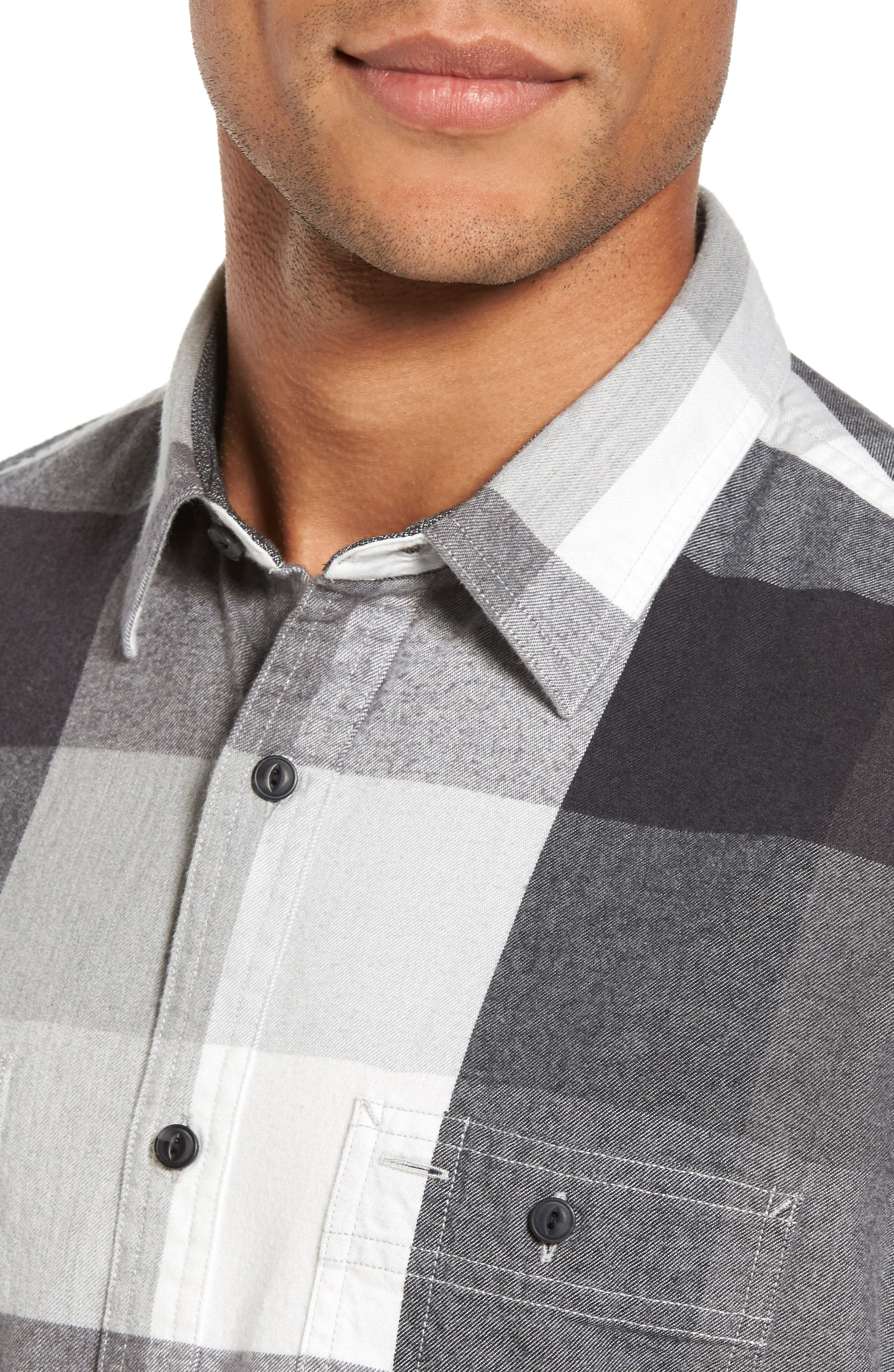 Trim Fit Workwear Check Flannel Shirt,                             Alternate thumbnail 4, color,                             Grey Paloma Buffalo Plaid