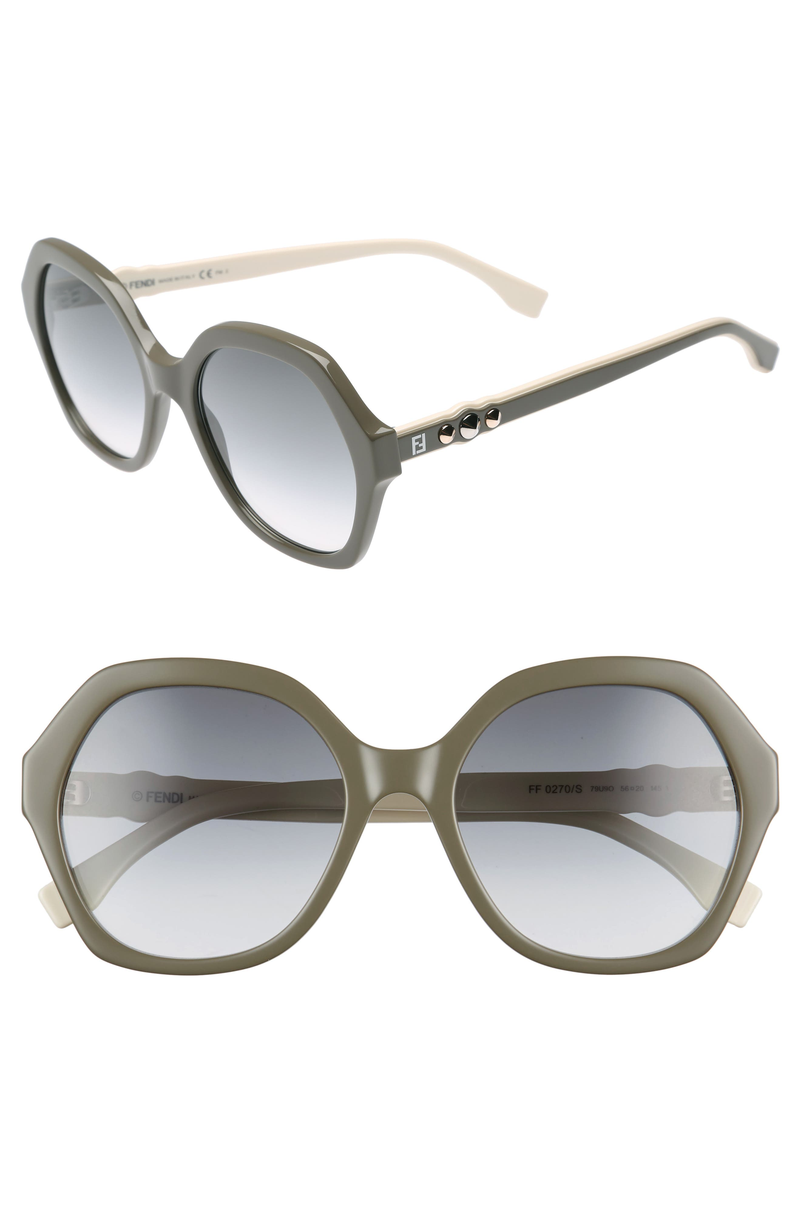 56mm Oversize Sunglasses,                             Main thumbnail 1, color,                             Mud