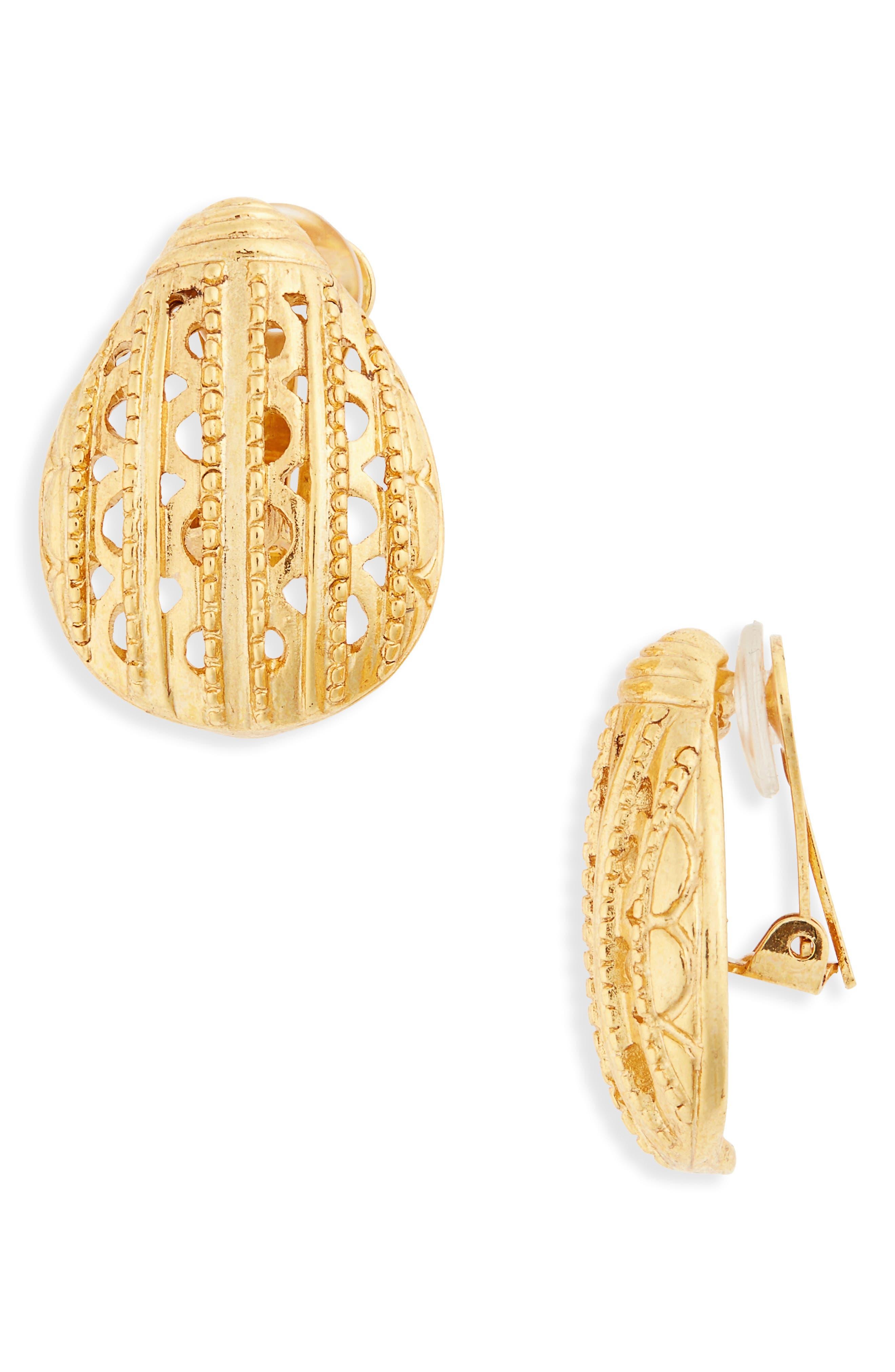 Oscar de la Renta Scarab Button Clip Earrings
