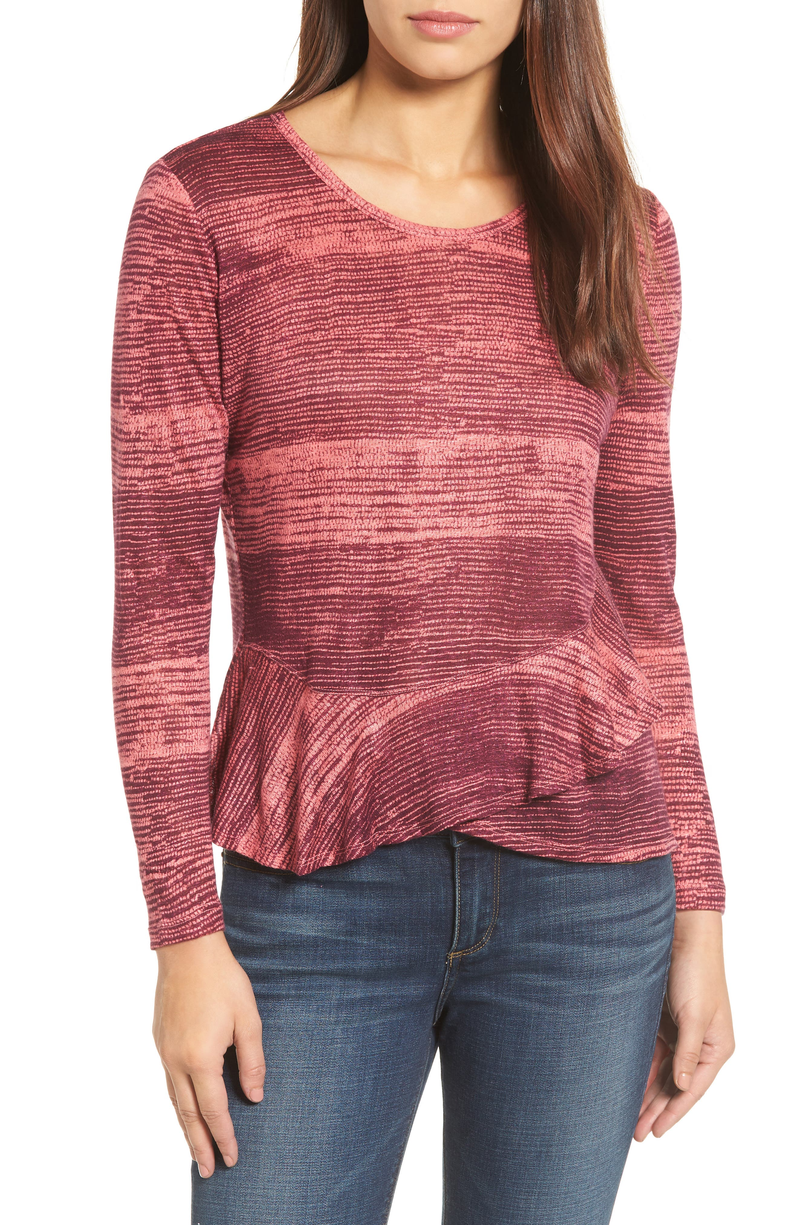 Alternate Image 1 Selected - Lucky Brand Printed Ruffle Top