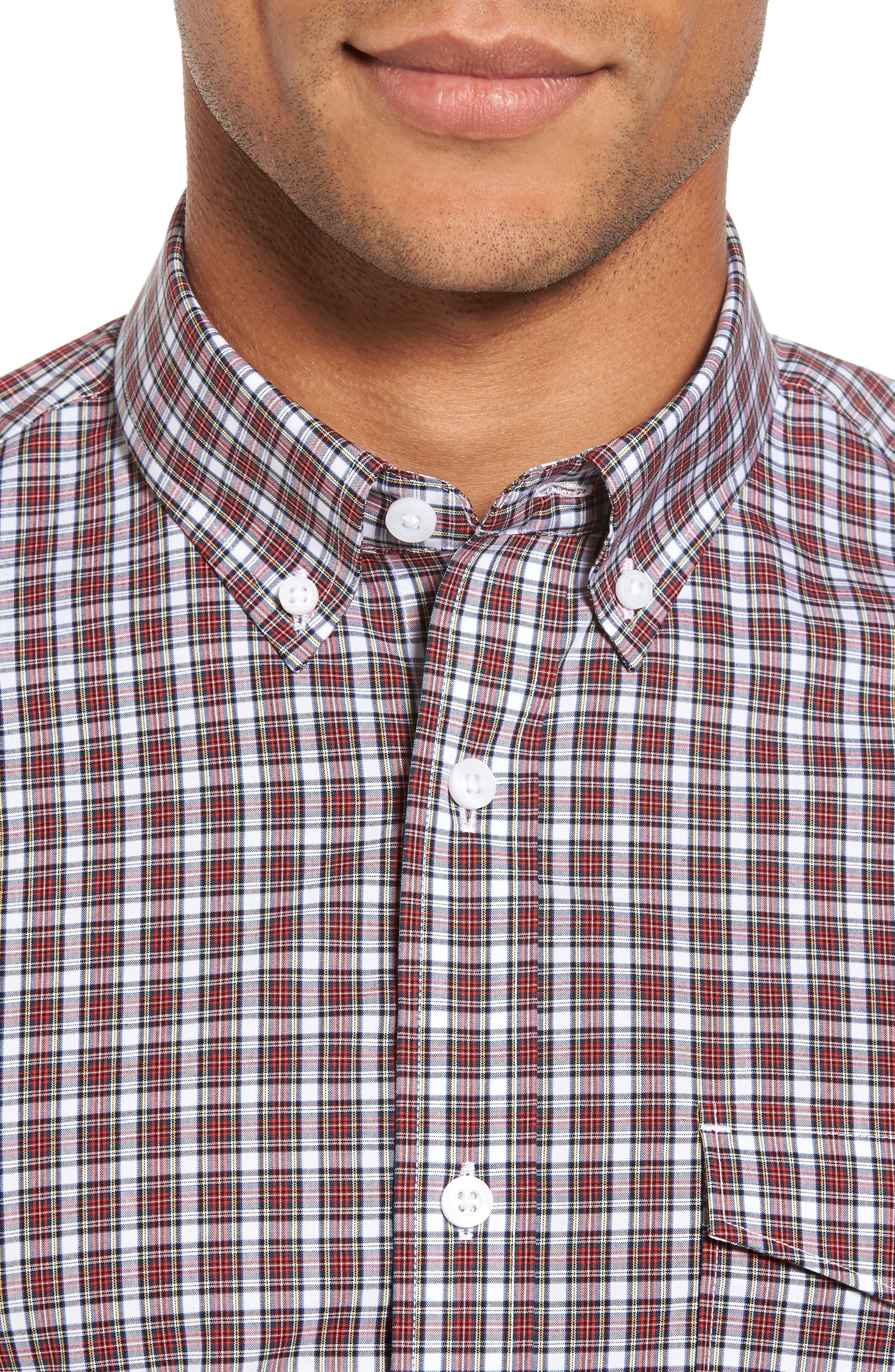 Alternate Image 4  - Nordstrom Men's Shop Ivy Trim Fit Non-Iron Tartan Plaid Sport Shirt