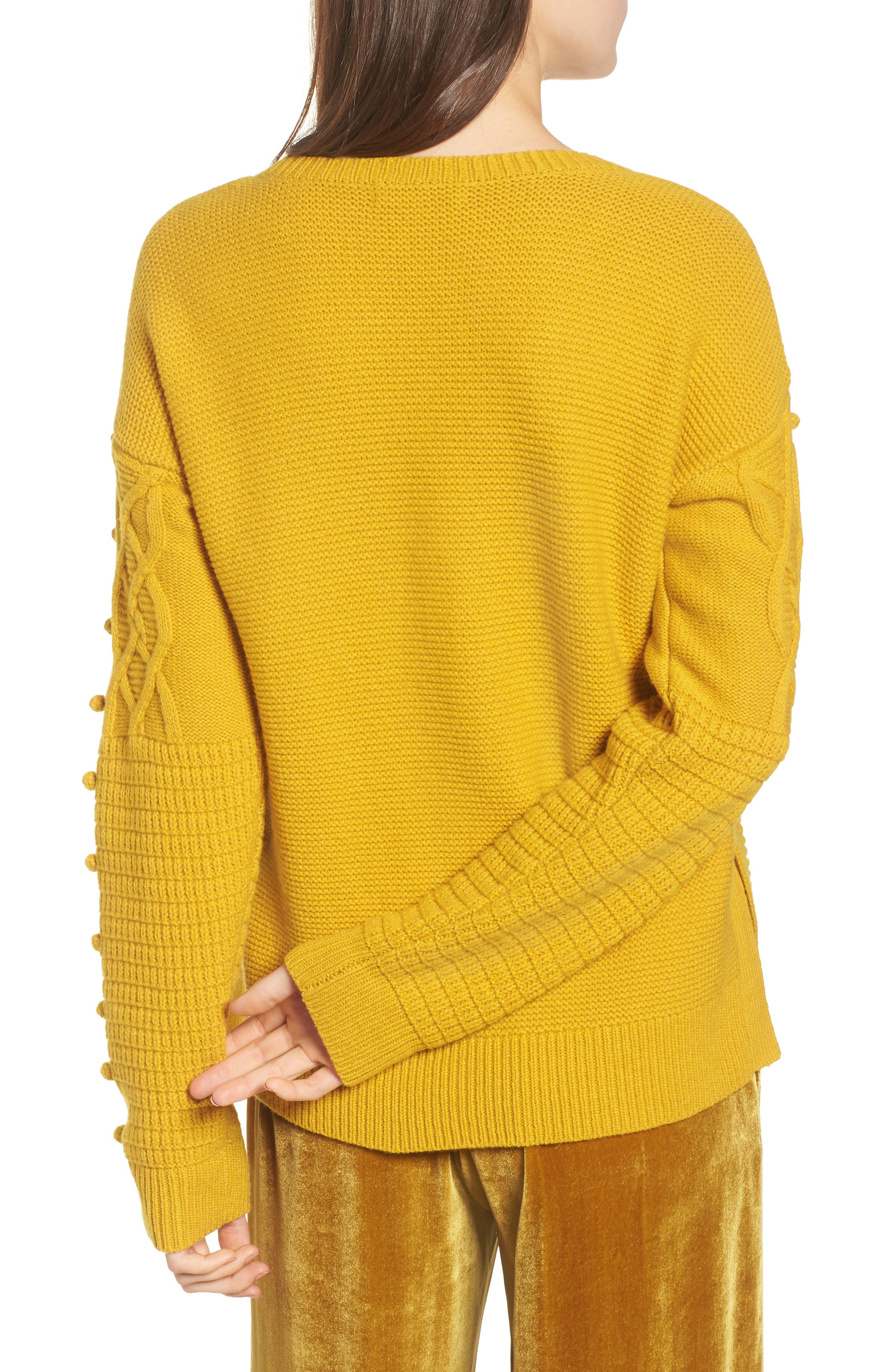 Open Side Bobble Pullover Sweater,                             Alternate thumbnail 2, color,                             Mystic Yellow