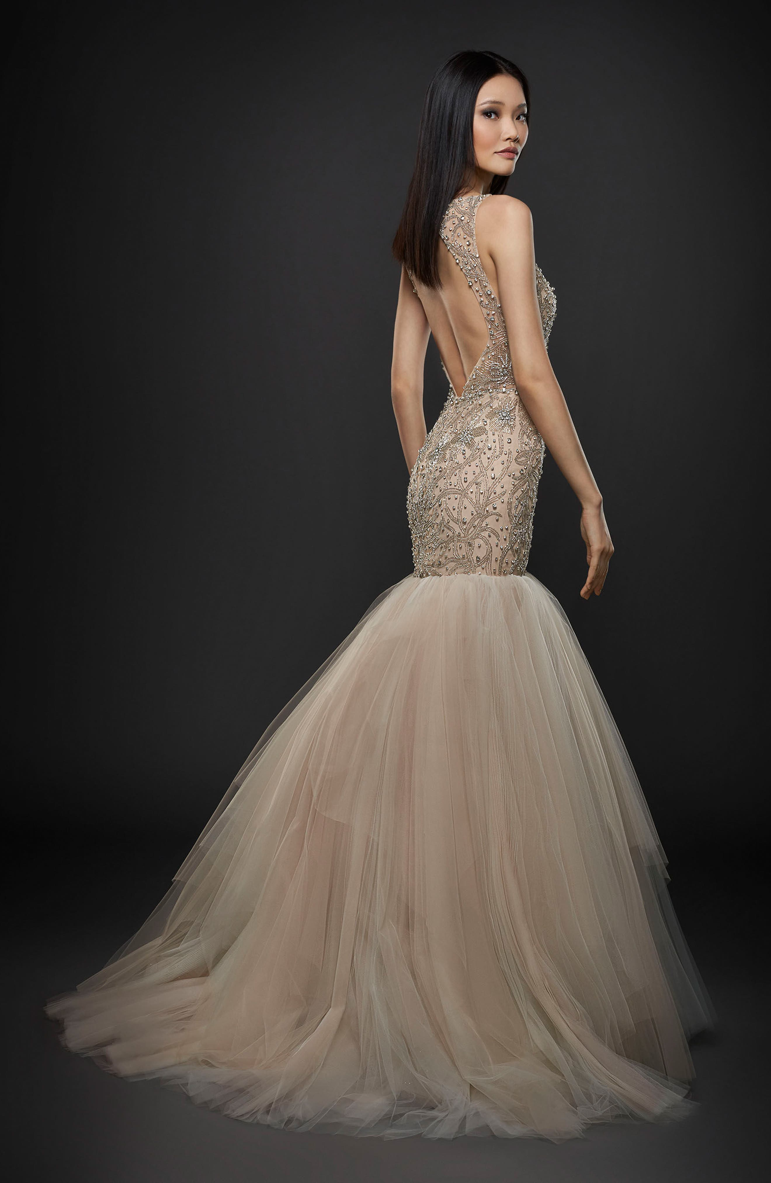 Embellished Trumpet Gown,                             Alternate thumbnail 2, color,                             Ivory/ Cashmere