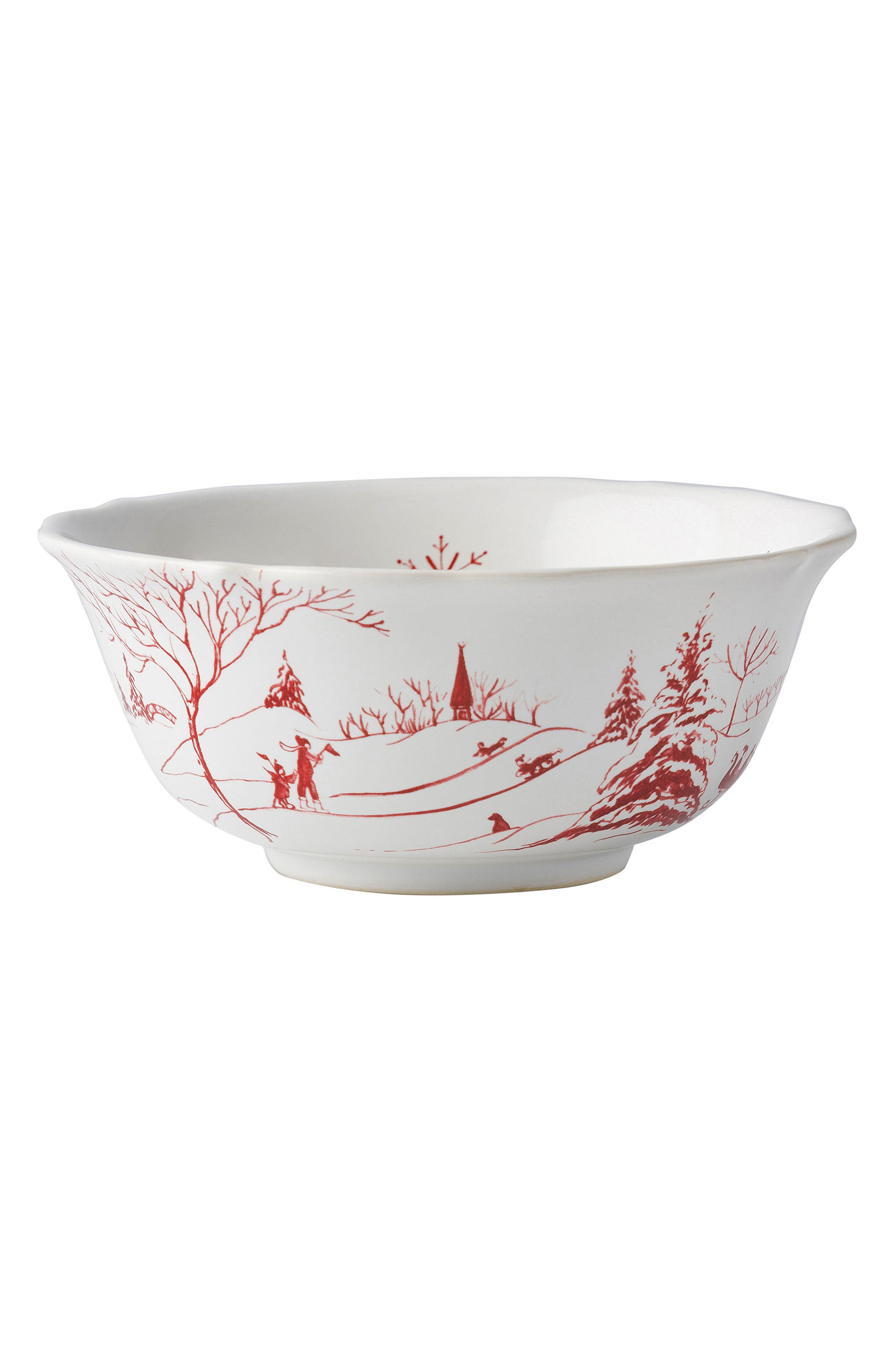 Winter Frolic Ceramic Cereal Bowl,                         Main,                         color, Ruby