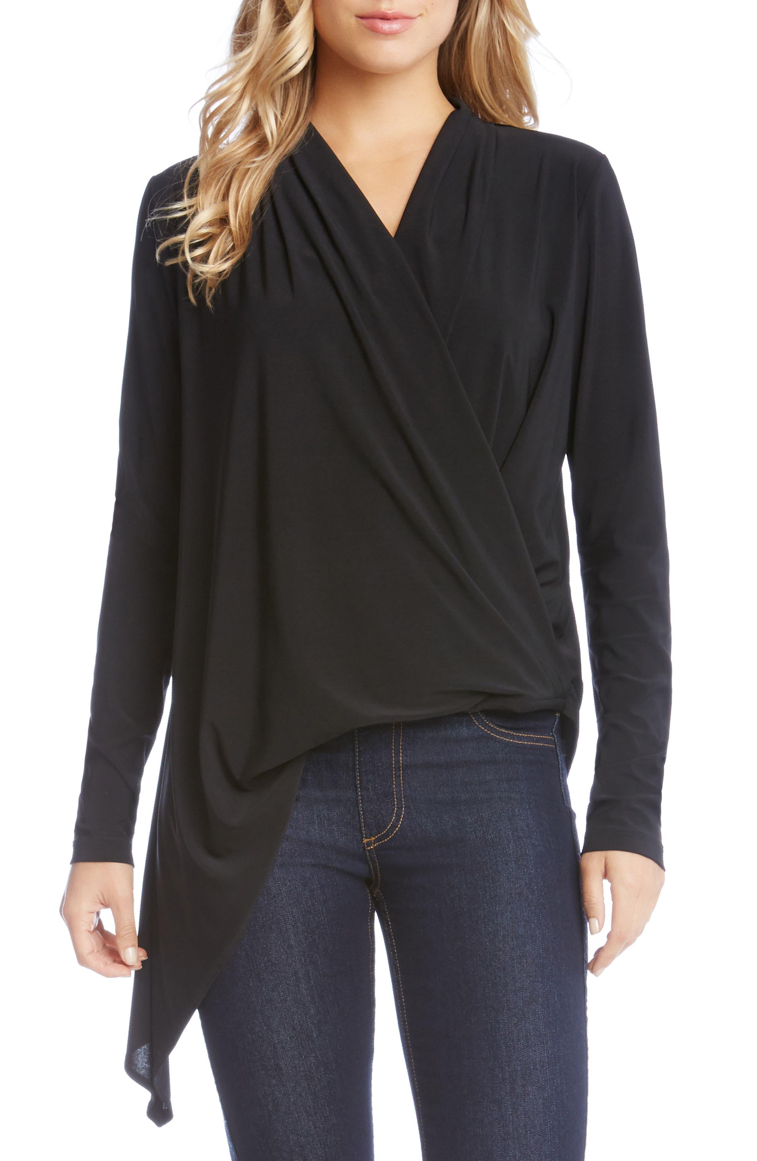 Asymmetrical Faux Wrap Top,                         Main,                         color, Black