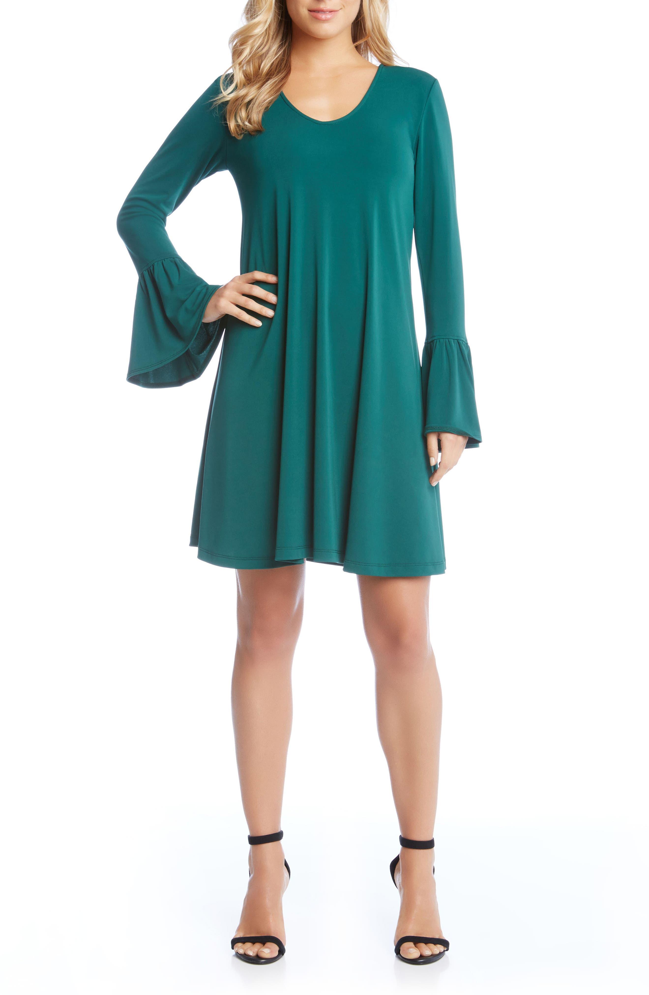 Bell Sleeve Dress,                             Main thumbnail 1, color,                             Emerald