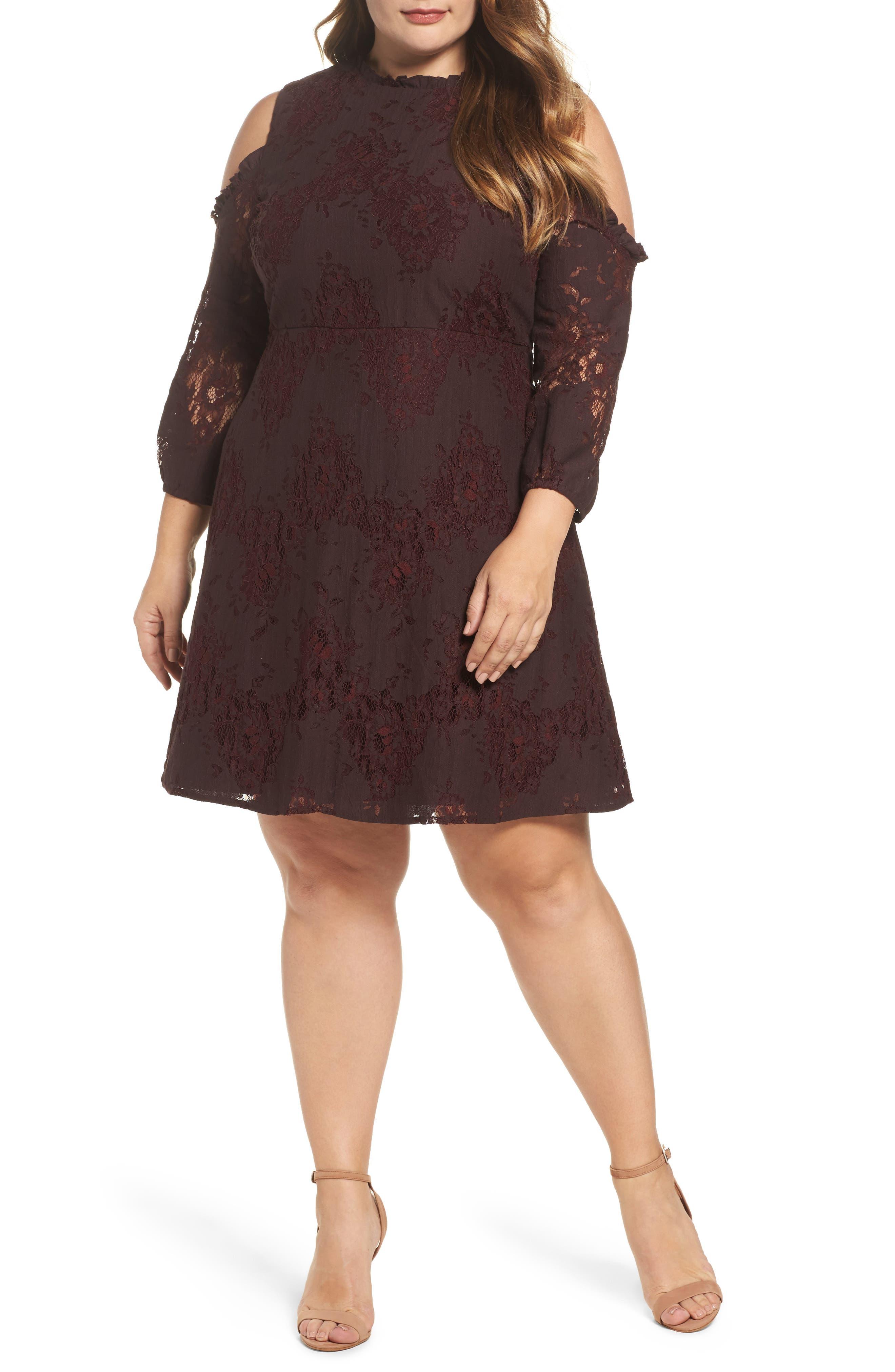Cold Shoulder Lace A-Line Dress,                             Main thumbnail 1, color,                             Burgundy