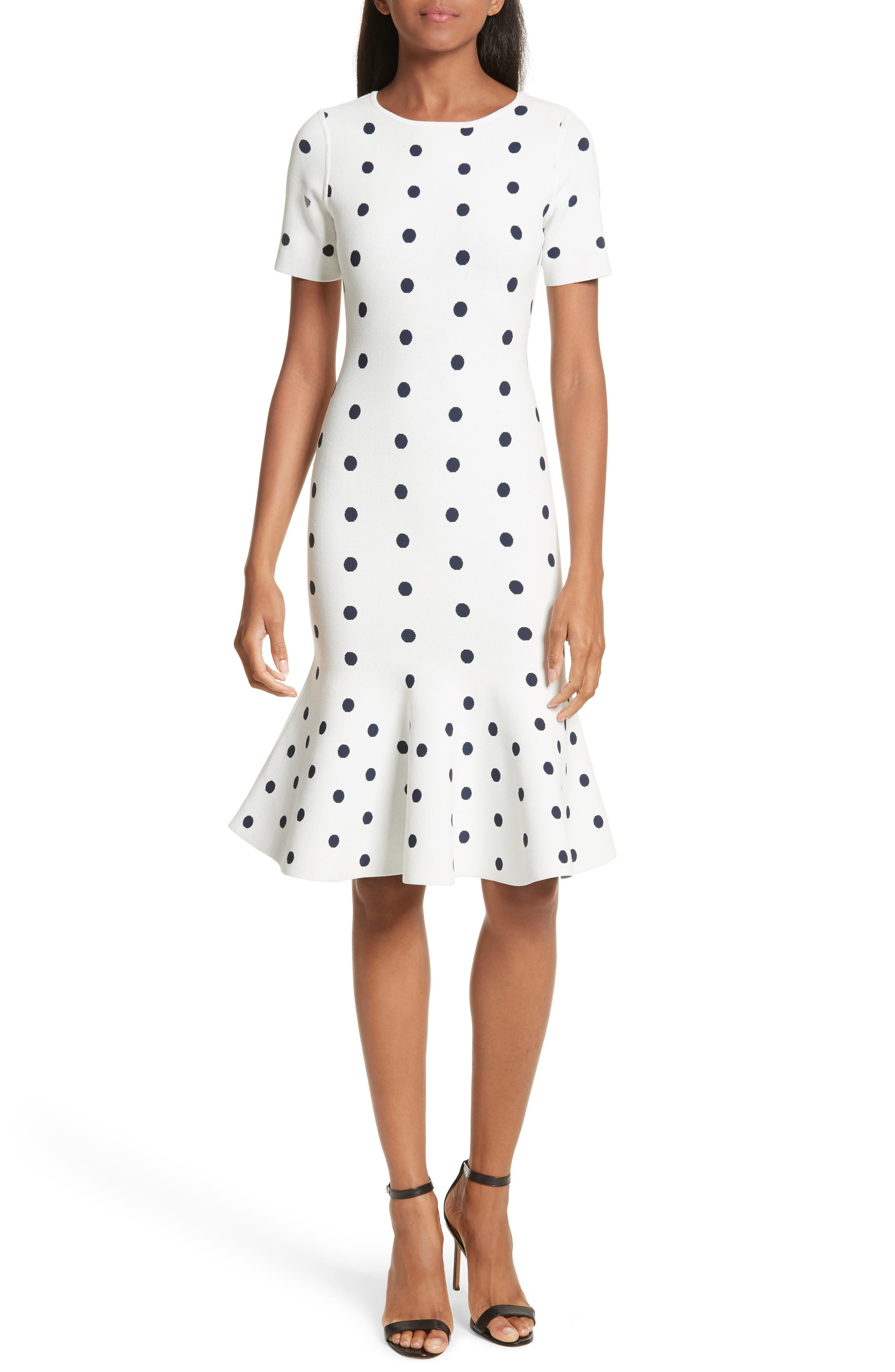Polka Dot Mermaid Dress,                             Main thumbnail 1, color,                             White/ Navy