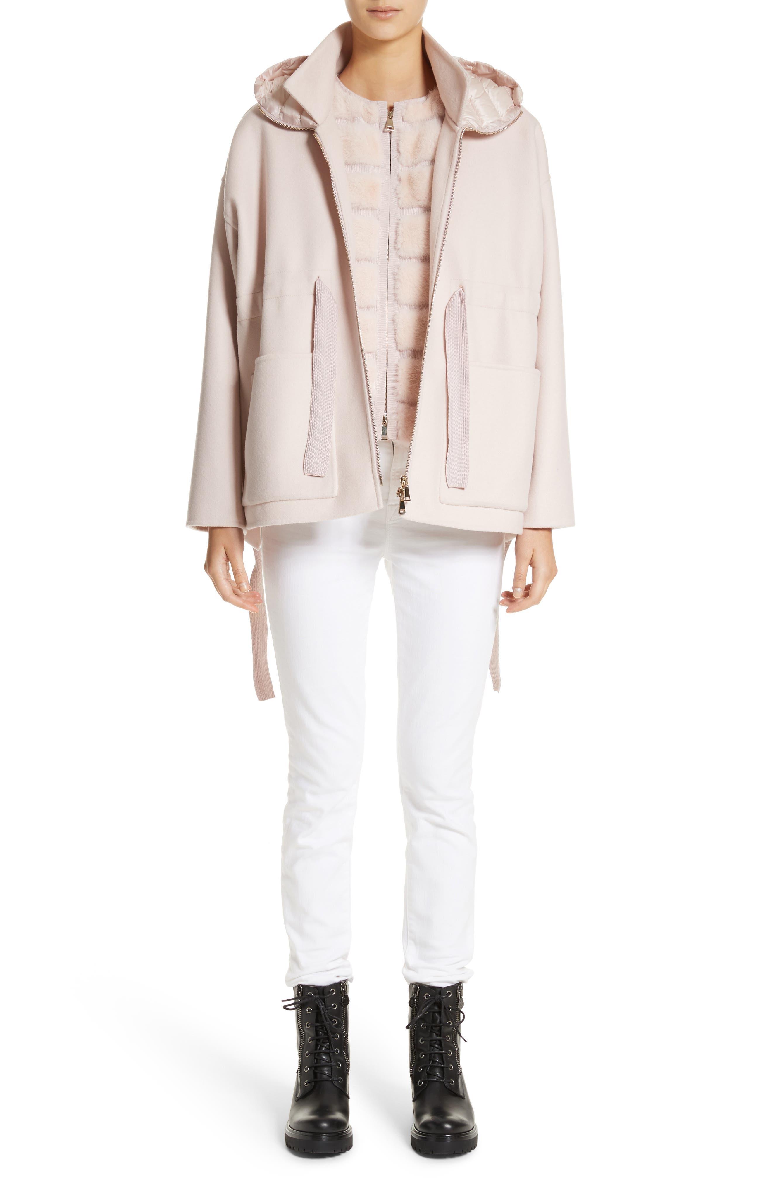 Ametrine Wool & Cashmere Vest with Genuine Mink Fur Trim & Removable Hood,                             Alternate thumbnail 8, color,                             Blush