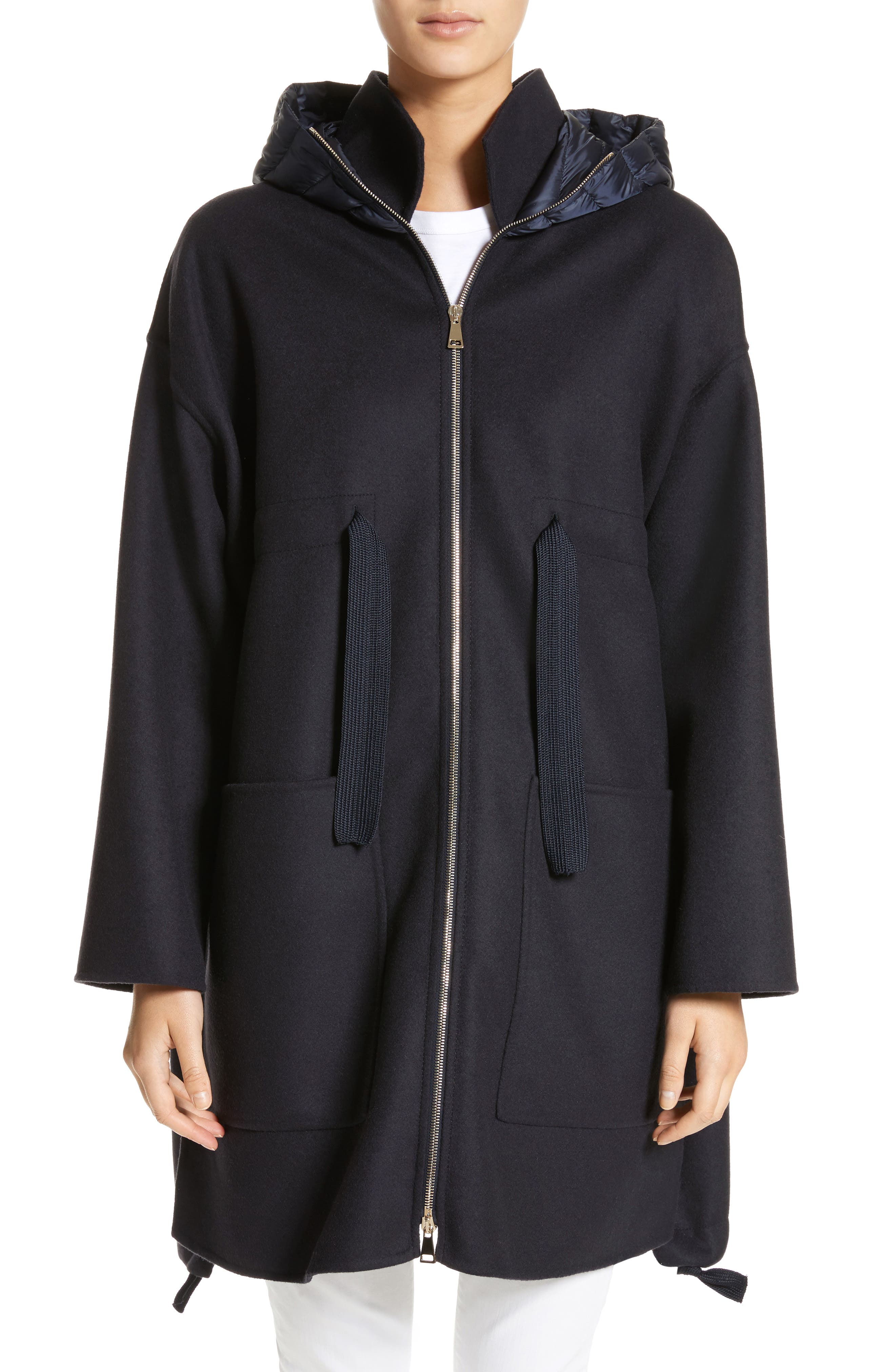 Grenat Wool & Cashmere Hooded Jacket,                             Main thumbnail 1, color,                             Navy