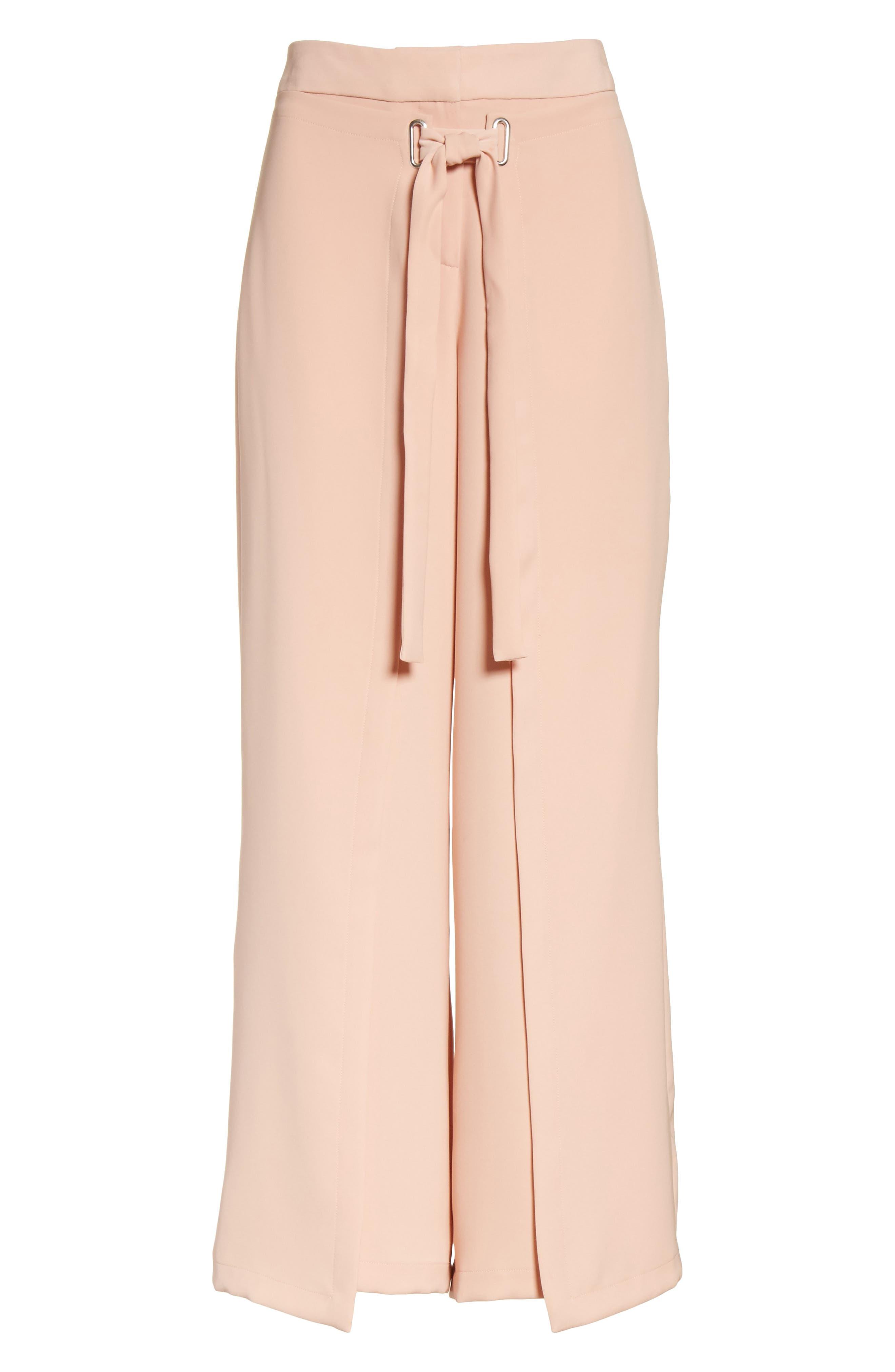 Tie Front Wrap Pants,                             Alternate thumbnail 6, color,                             Blush Pink