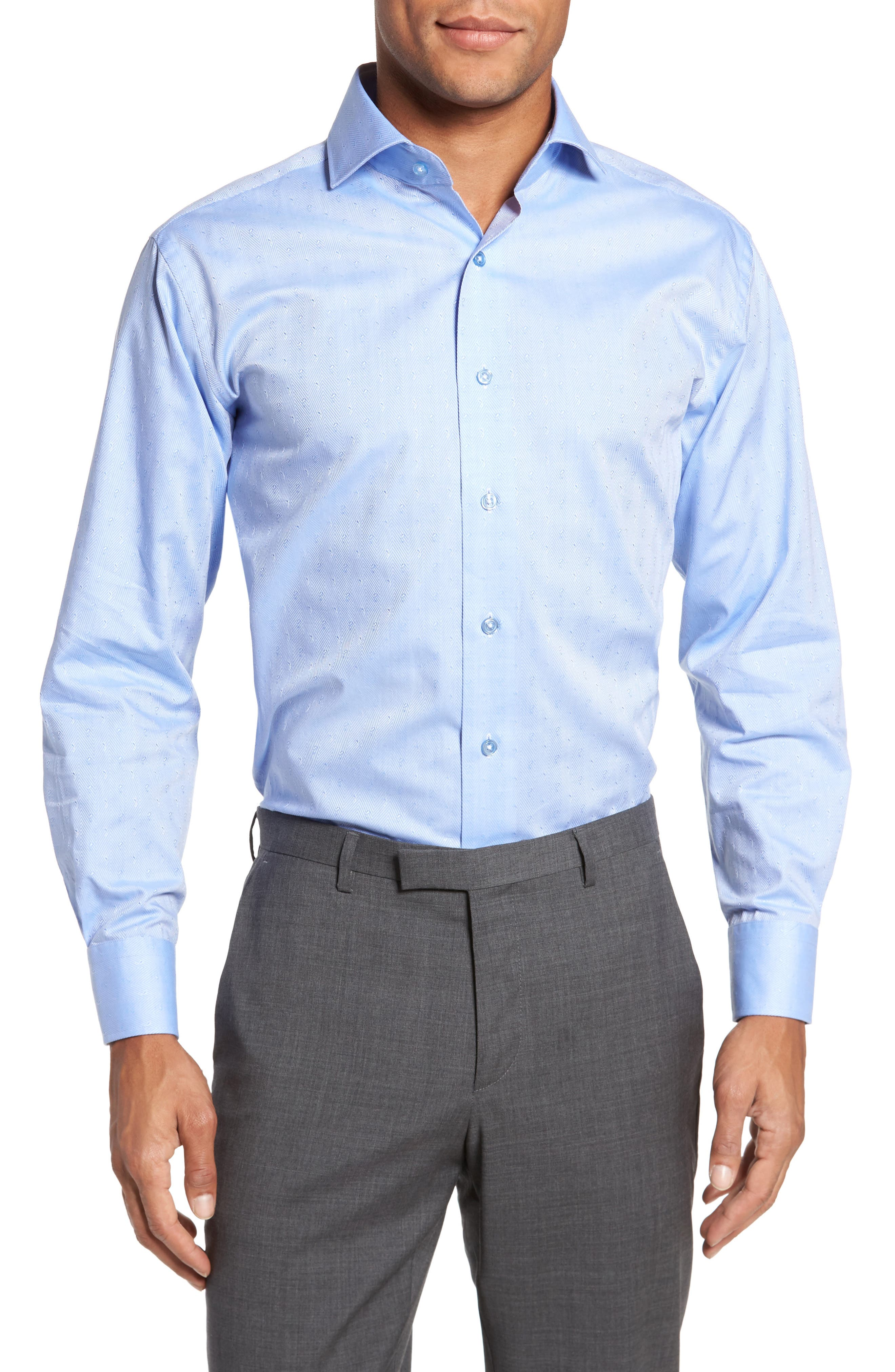 Trim Fit Herringbone Dress Shirt,                         Main,                         color, Light Blue