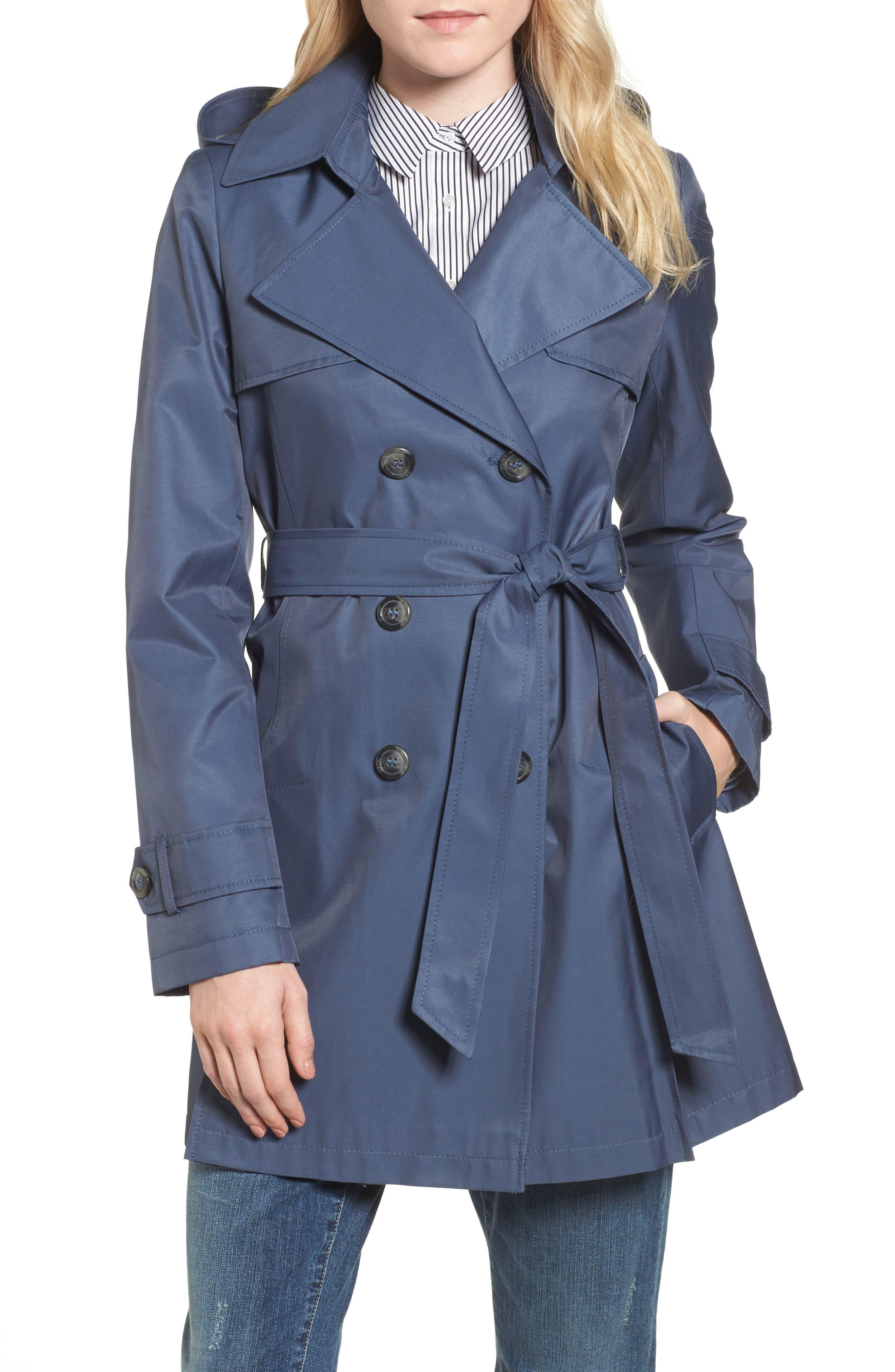 Main Image - Halogen® Detachable Hood Trench Coat (Regular & Petite)