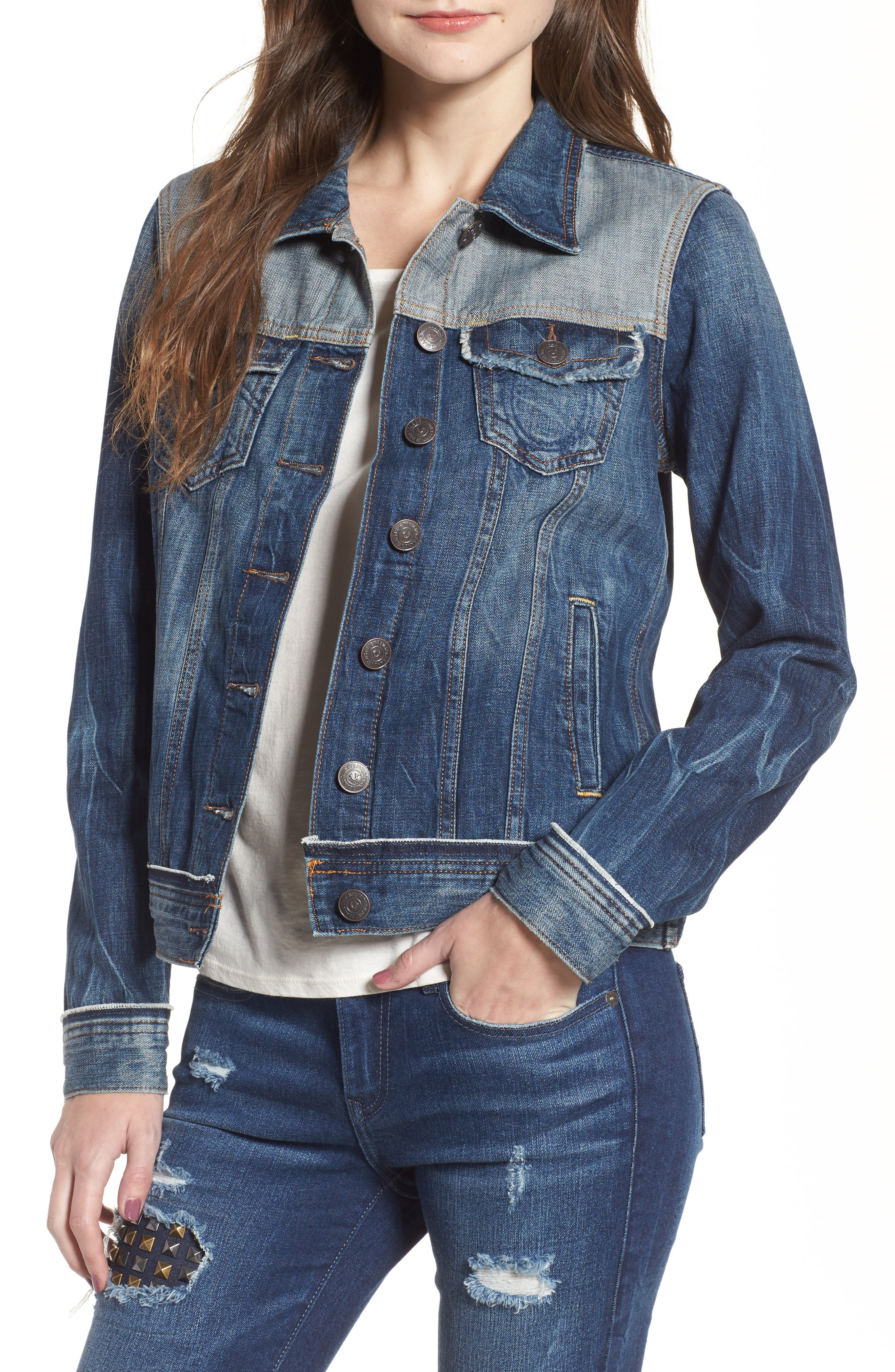 True Religion Brand Jeans Let Out Seams Denim Jacket