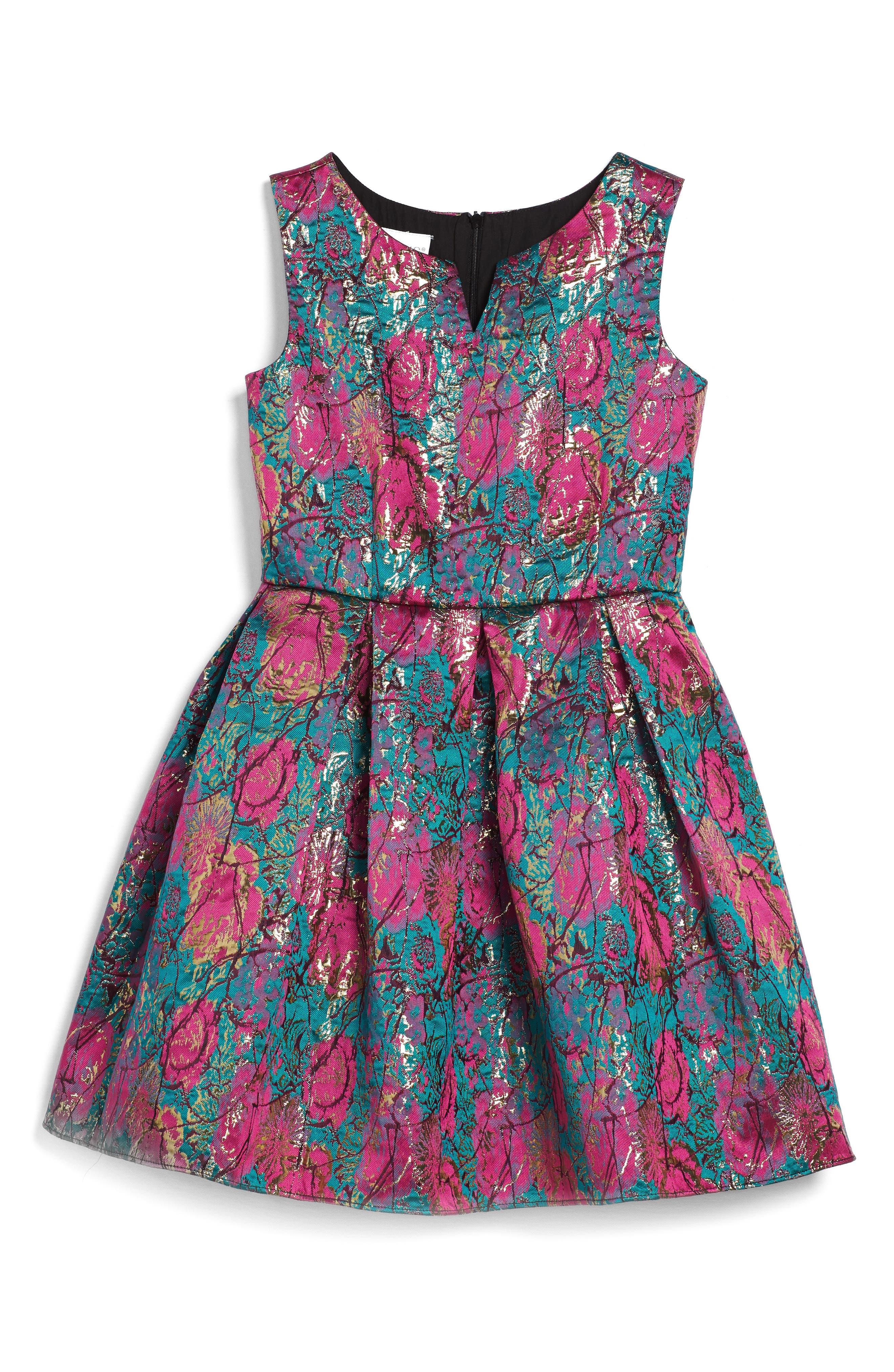 Main Image - Frais Floral Brocade Fit & Flare Dress (Big Girls)