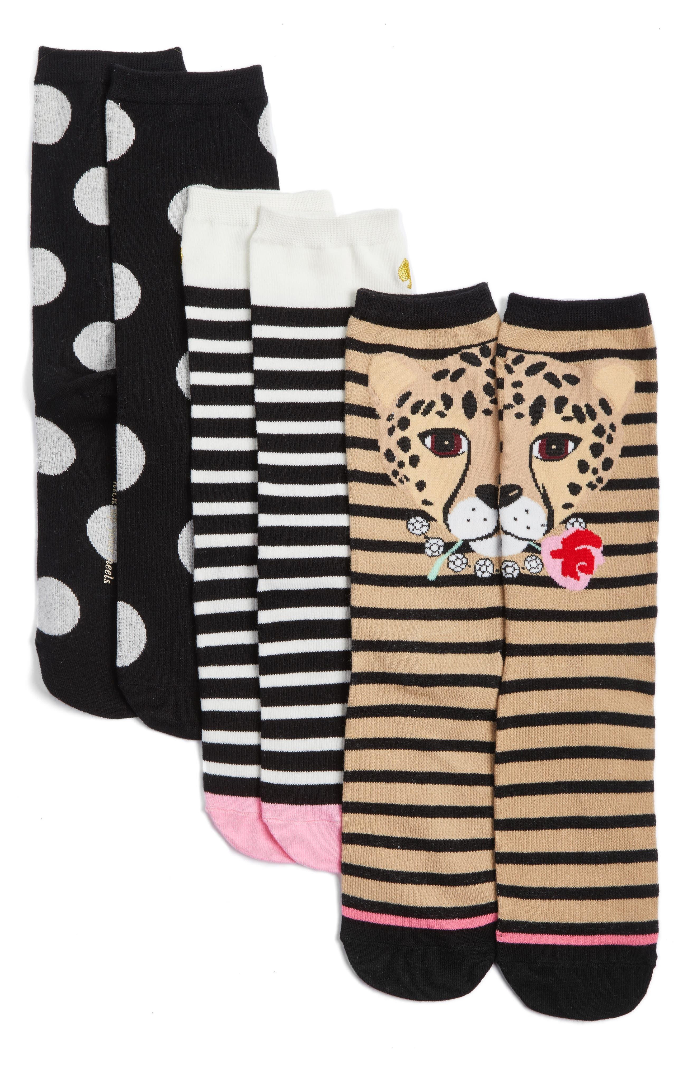 Alternate Image 1 Selected - kate spade new york 3-pack cheetah trouser socks
