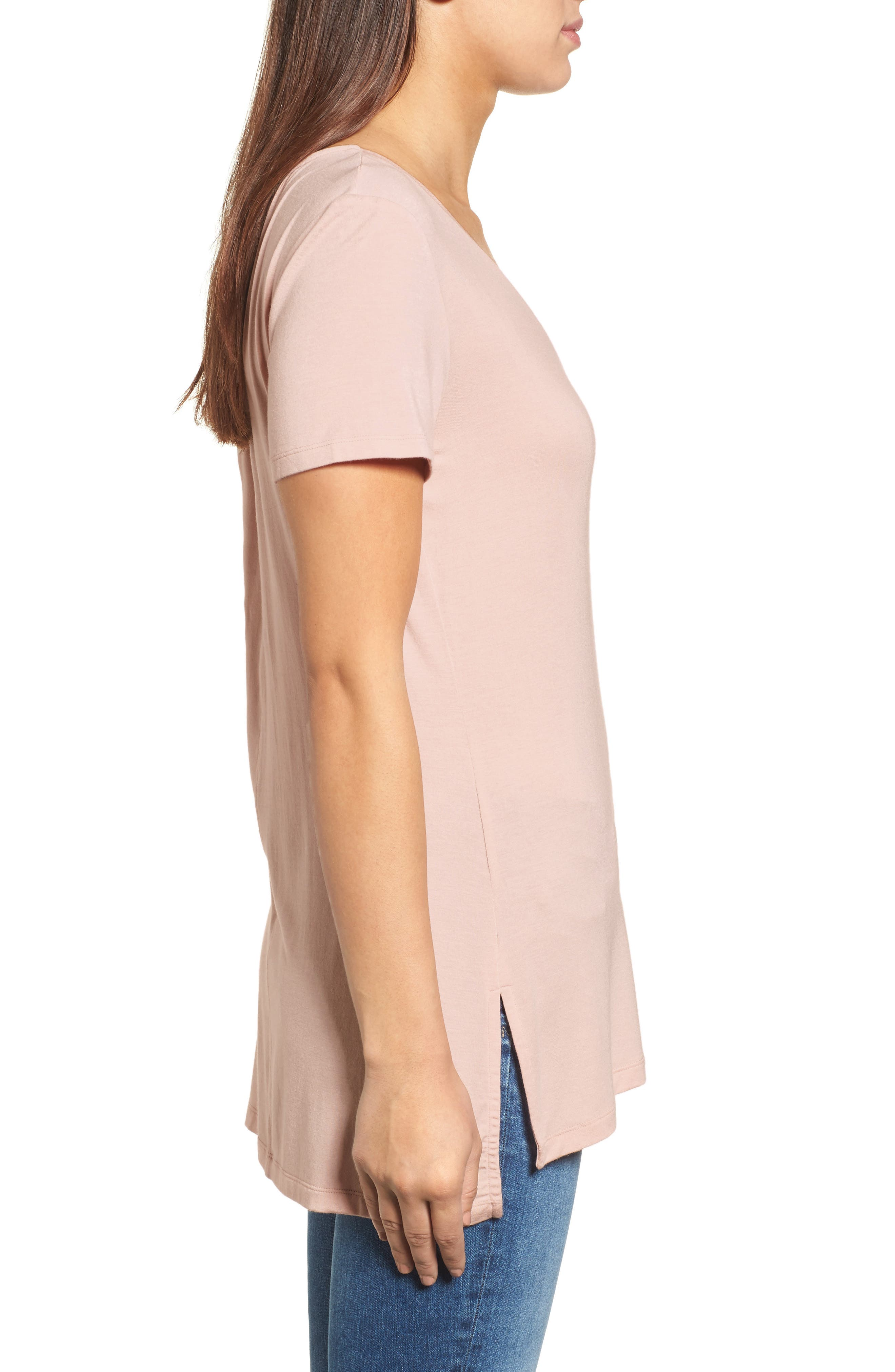 Alternate Image 3  - Halogen® V-Neck Tunic Tee (Regular & Petite)