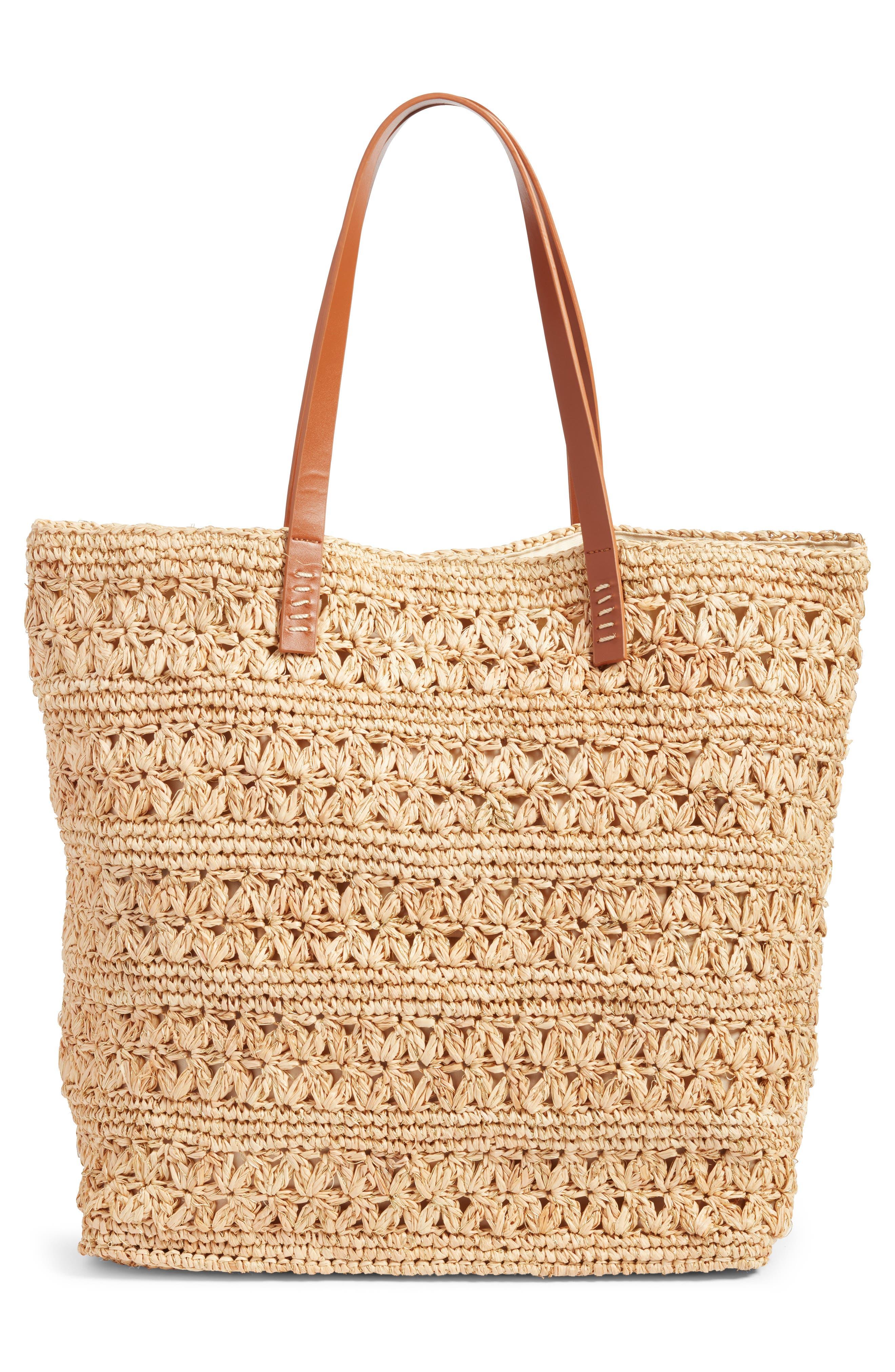 Packable Raffia Crochet Tote,                             Alternate thumbnail 3, color,                             Natural/ Gold