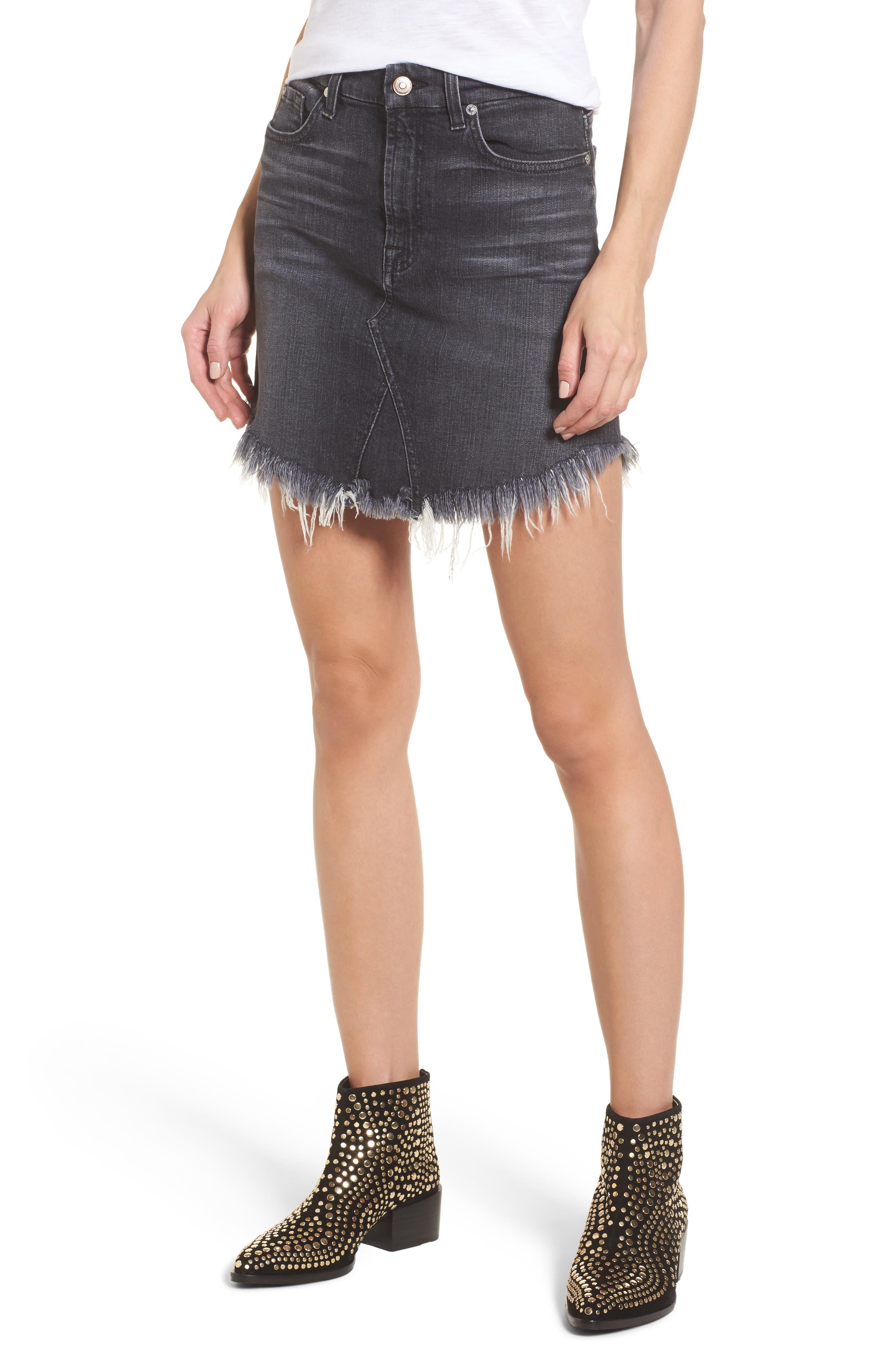 Denim Miniskirt,                         Main,                         color, Vintage Bedford Black 3