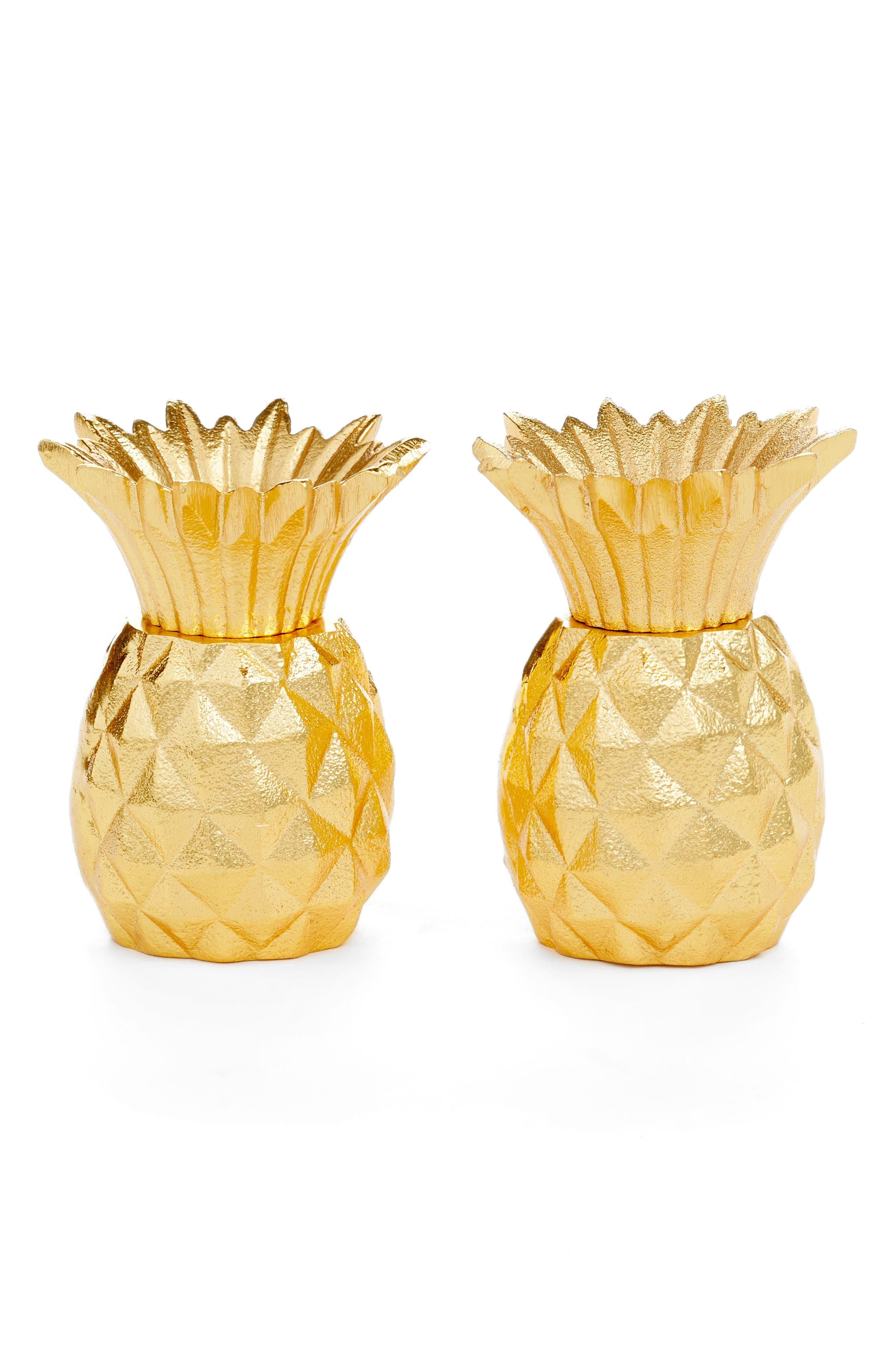 Pineapple Salt & Pepper Shaker Set,                         Main,                         color, Gold