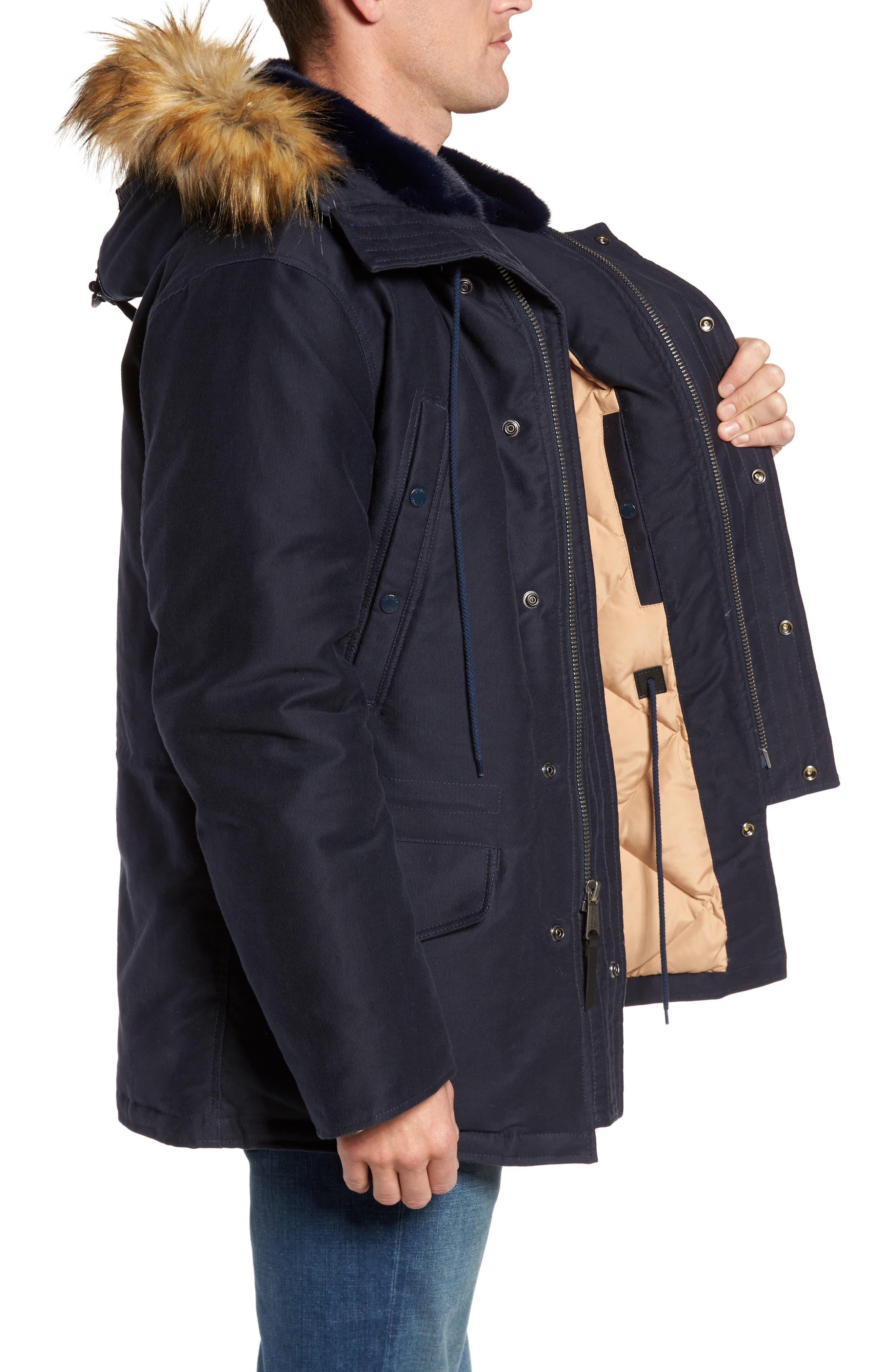 Bedford Corduroy Goose Down Jacket with Faux Fur Trim,                             Alternate thumbnail 3, color,                             Navy