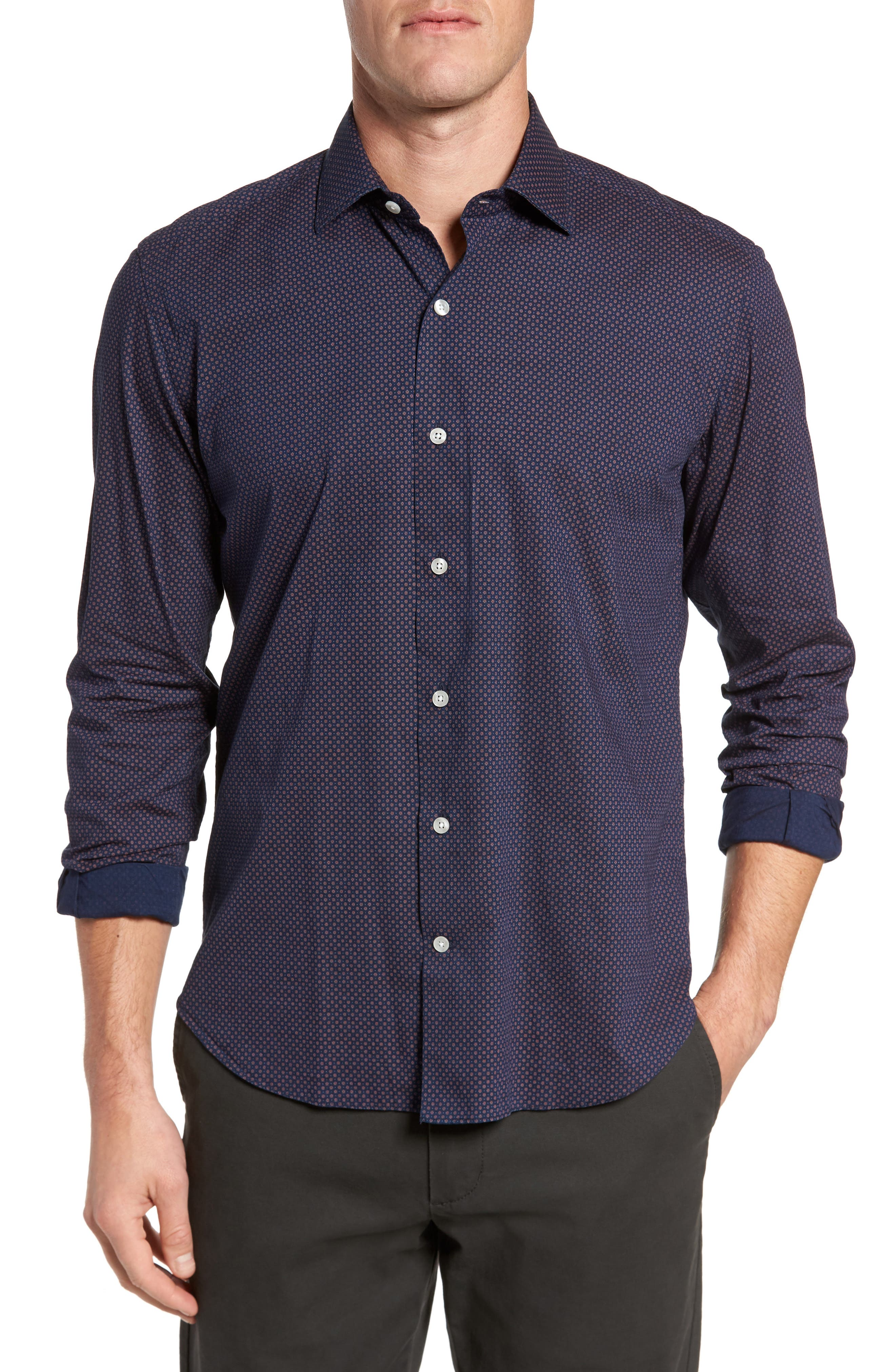 Dyed Print Sport Shirt,                         Main,                         color, Navy