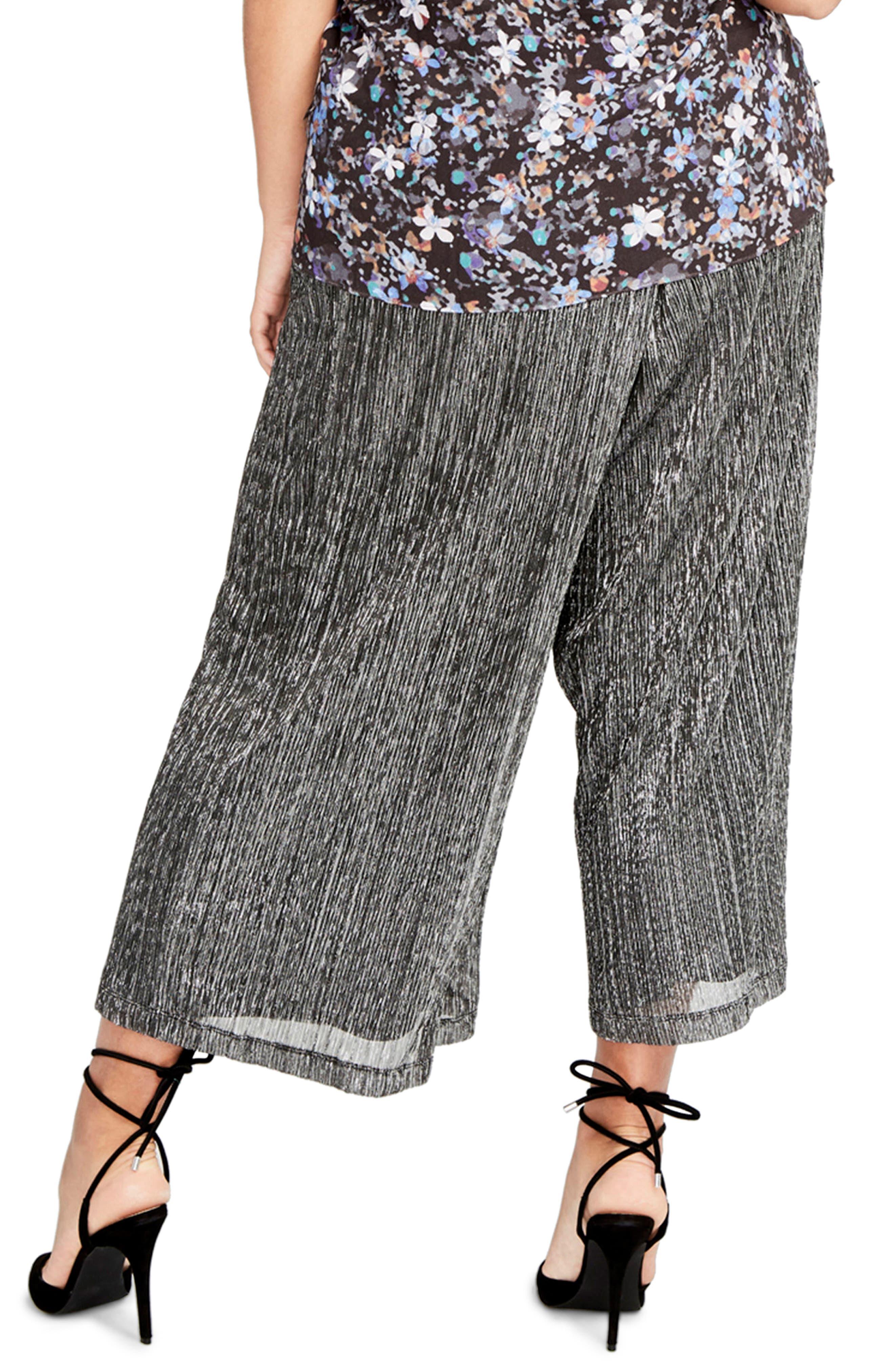 Vicky Wide Leg Crop Pants,                             Alternate thumbnail 3, color,                             Black Combo
