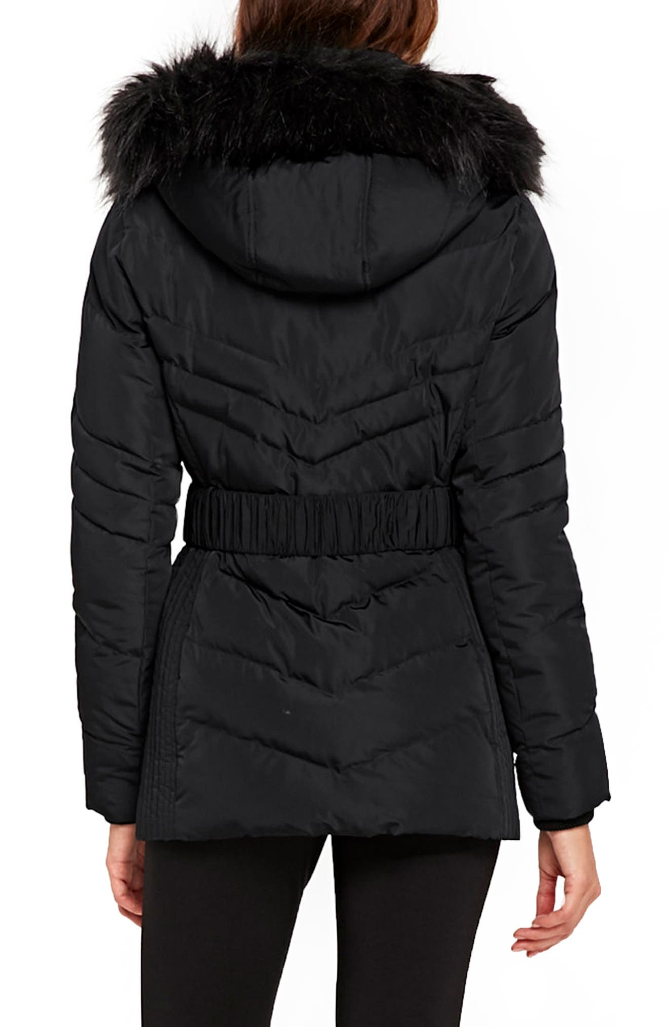 Water Repellent Quilted Puffer Coat with Faux Fur Trim,                             Alternate thumbnail 3, color,                             Black