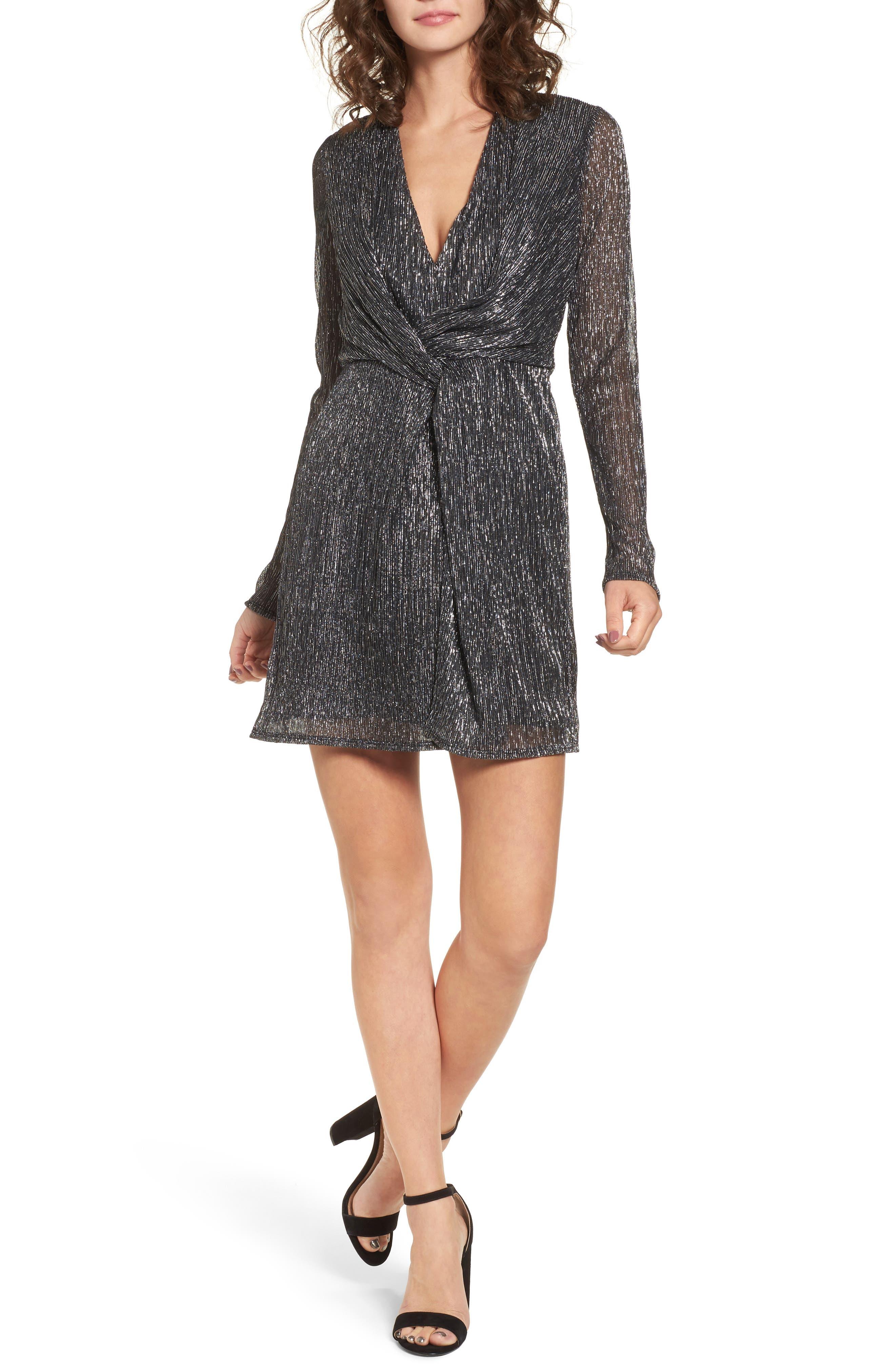 Metallic Twist Front Dress,                         Main,                         color, Black Silver