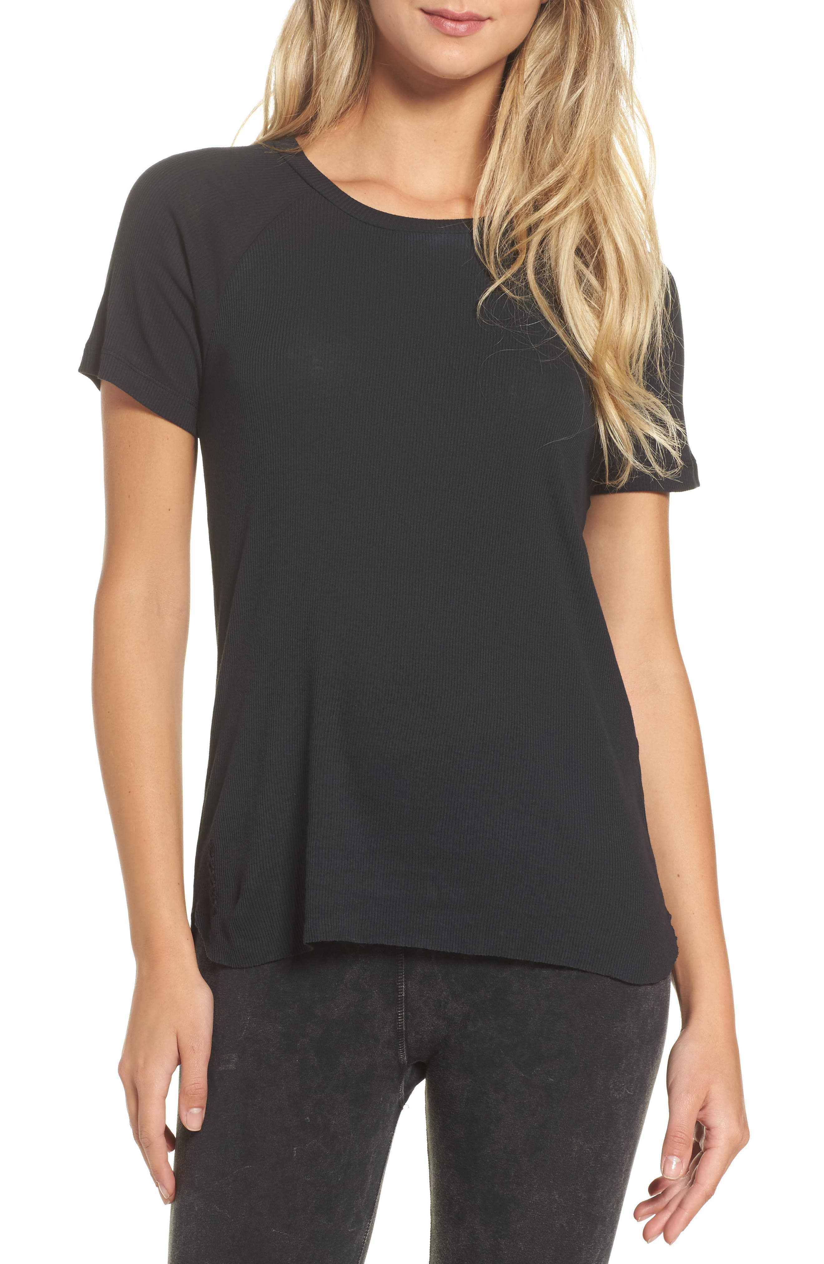 Ribbed Tee,                         Main,                         color, Faded Black