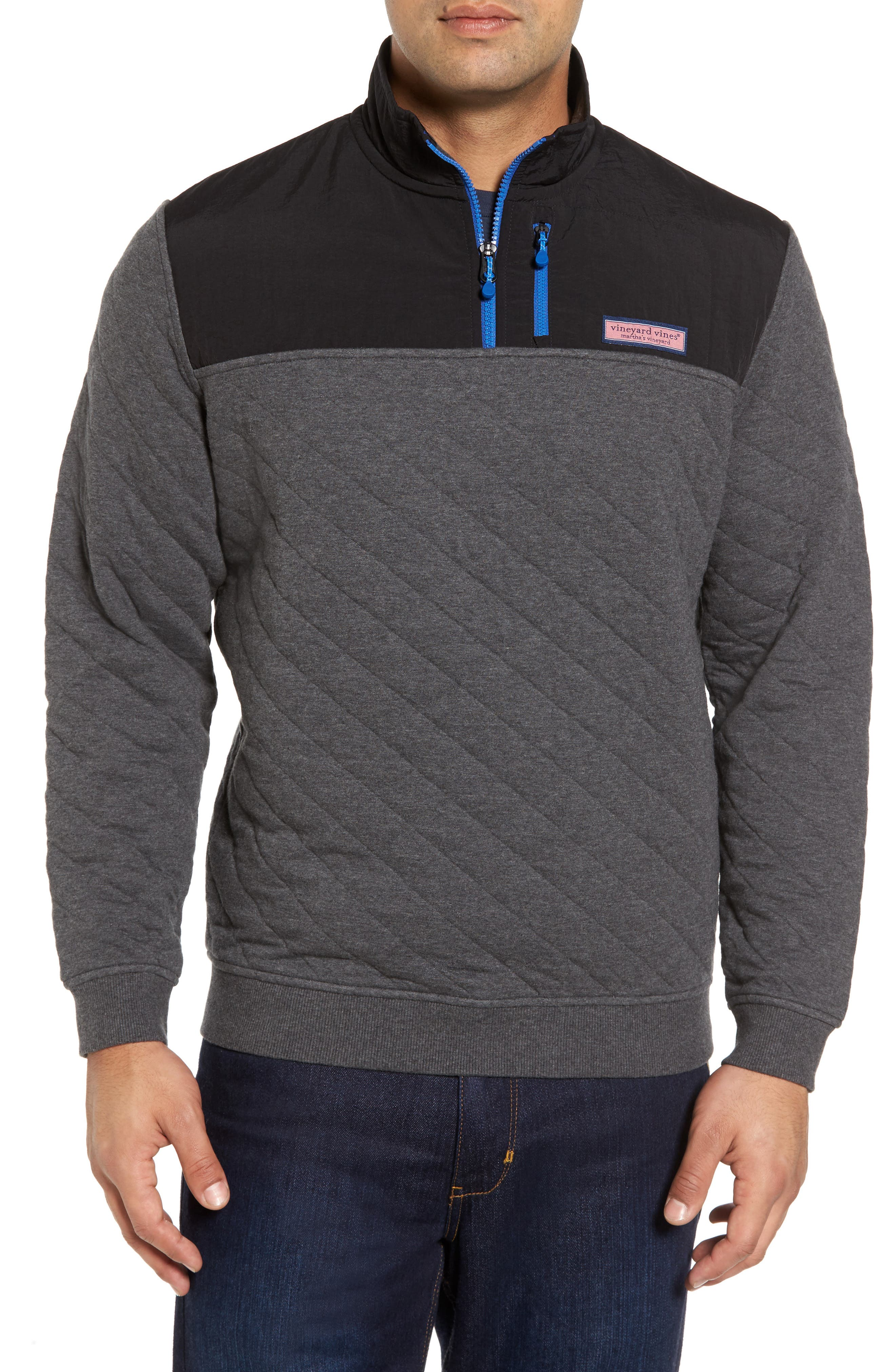 Quilted Quarter Zip Pullover,                             Main thumbnail 1, color,                             Charcoal Heather