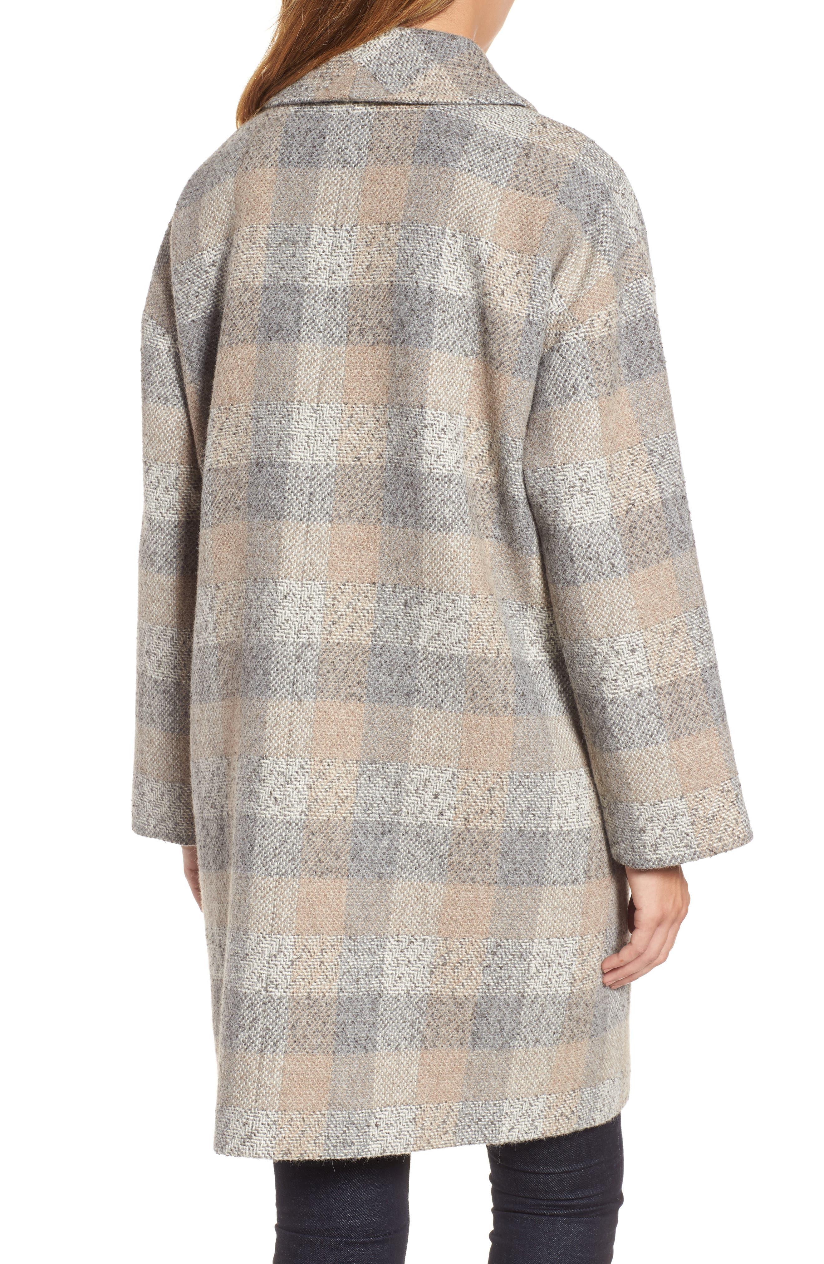 Plaid Alpaca Blend Coat,                             Alternate thumbnail 2, color,                             Dark Pearl