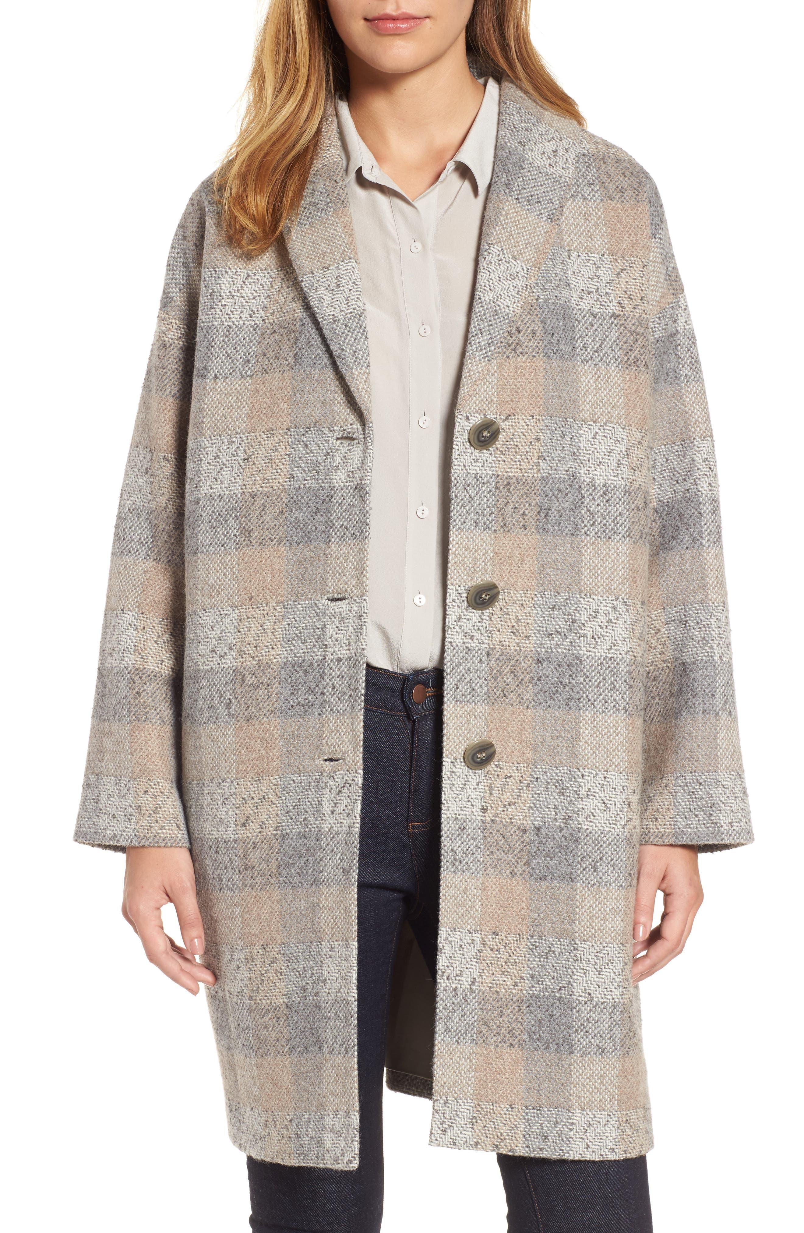 Alternate Image 1 Selected - Eileen Fisher Plaid Alpaca Blend Coat