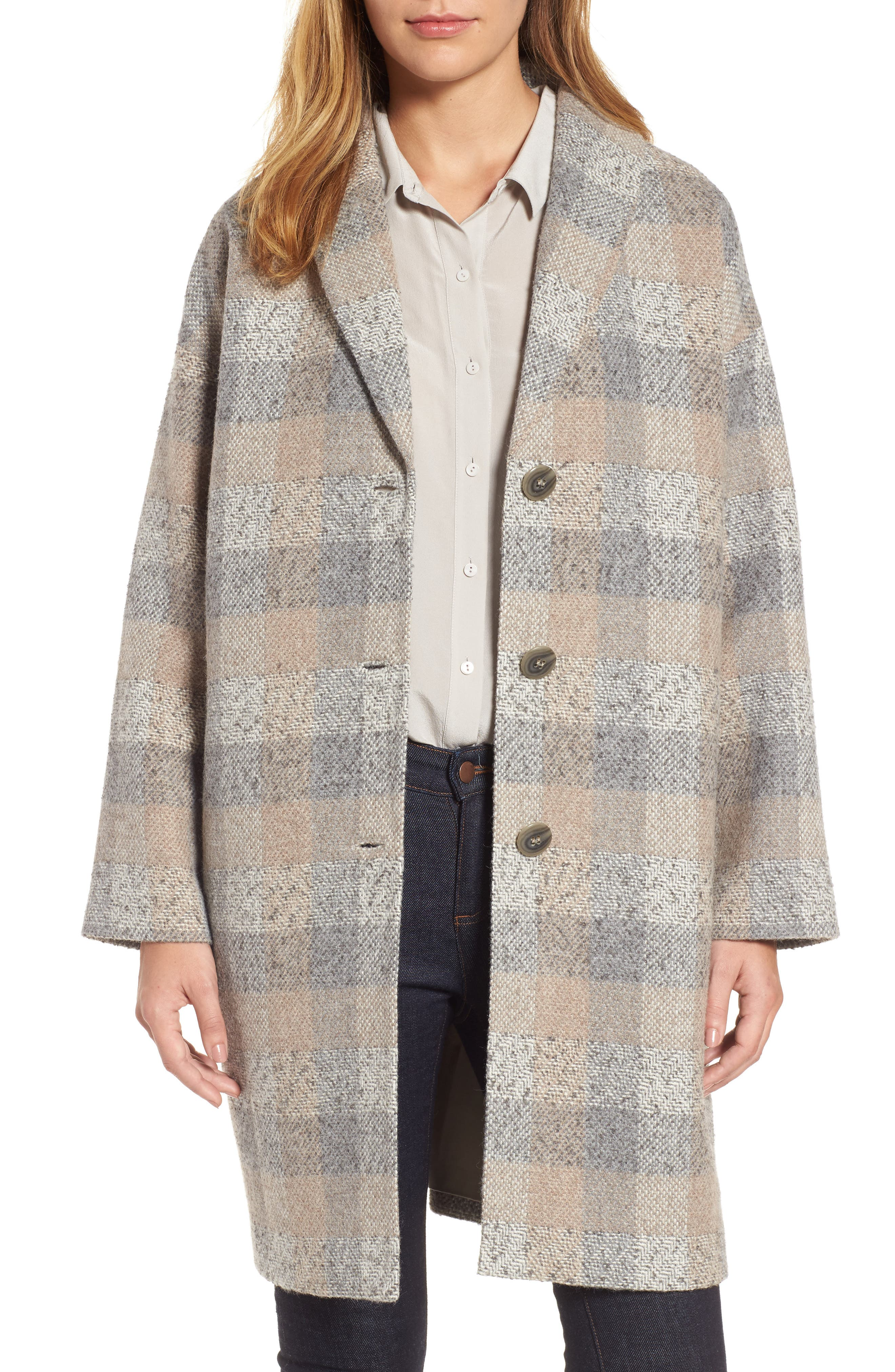 Plaid Alpaca Blend Coat,                         Main,                         color, Dark Pearl