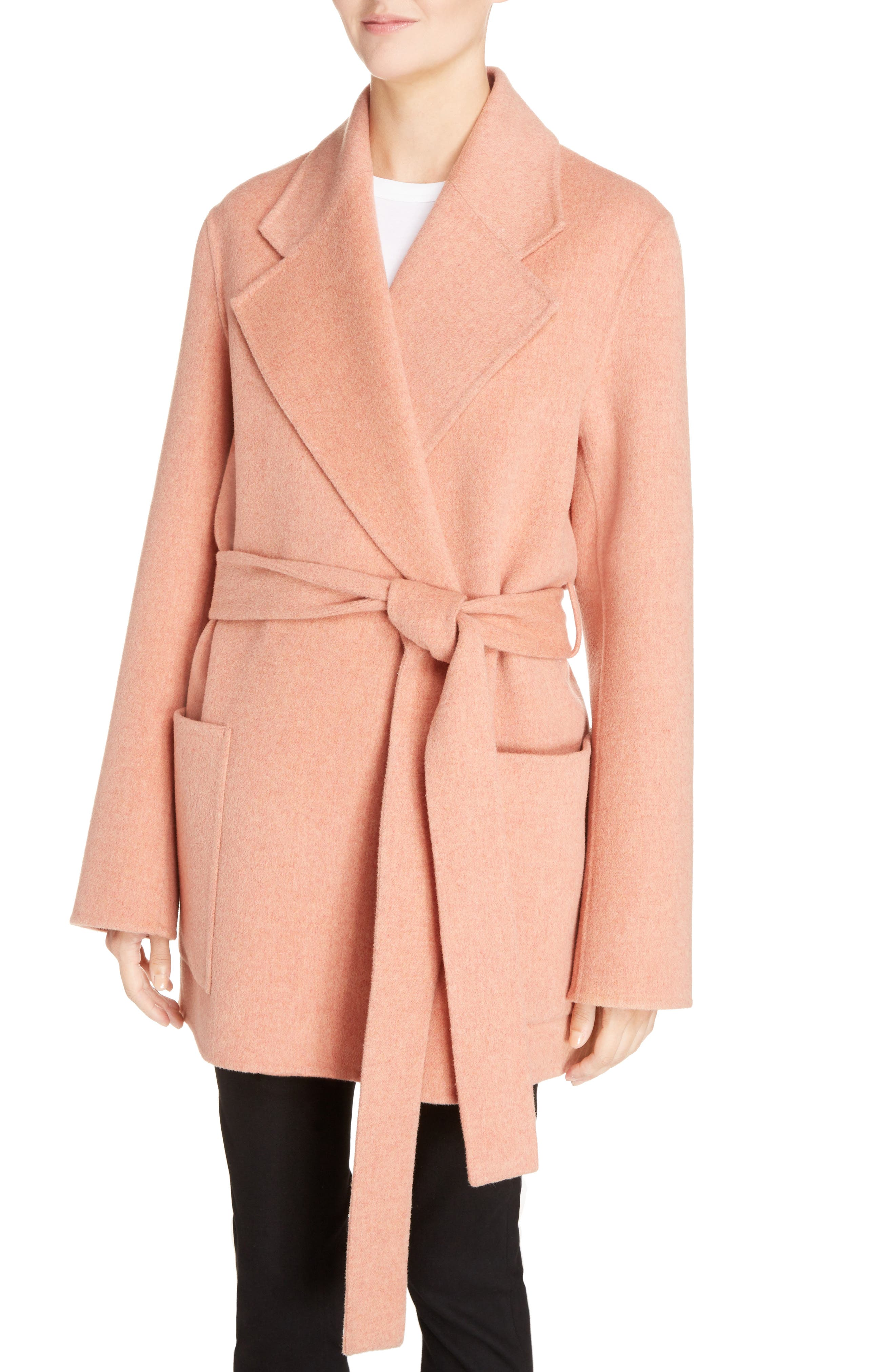 Anika Doublé Wool & Cashmere Coat,                             Alternate thumbnail 3, color,                             Rose Melange