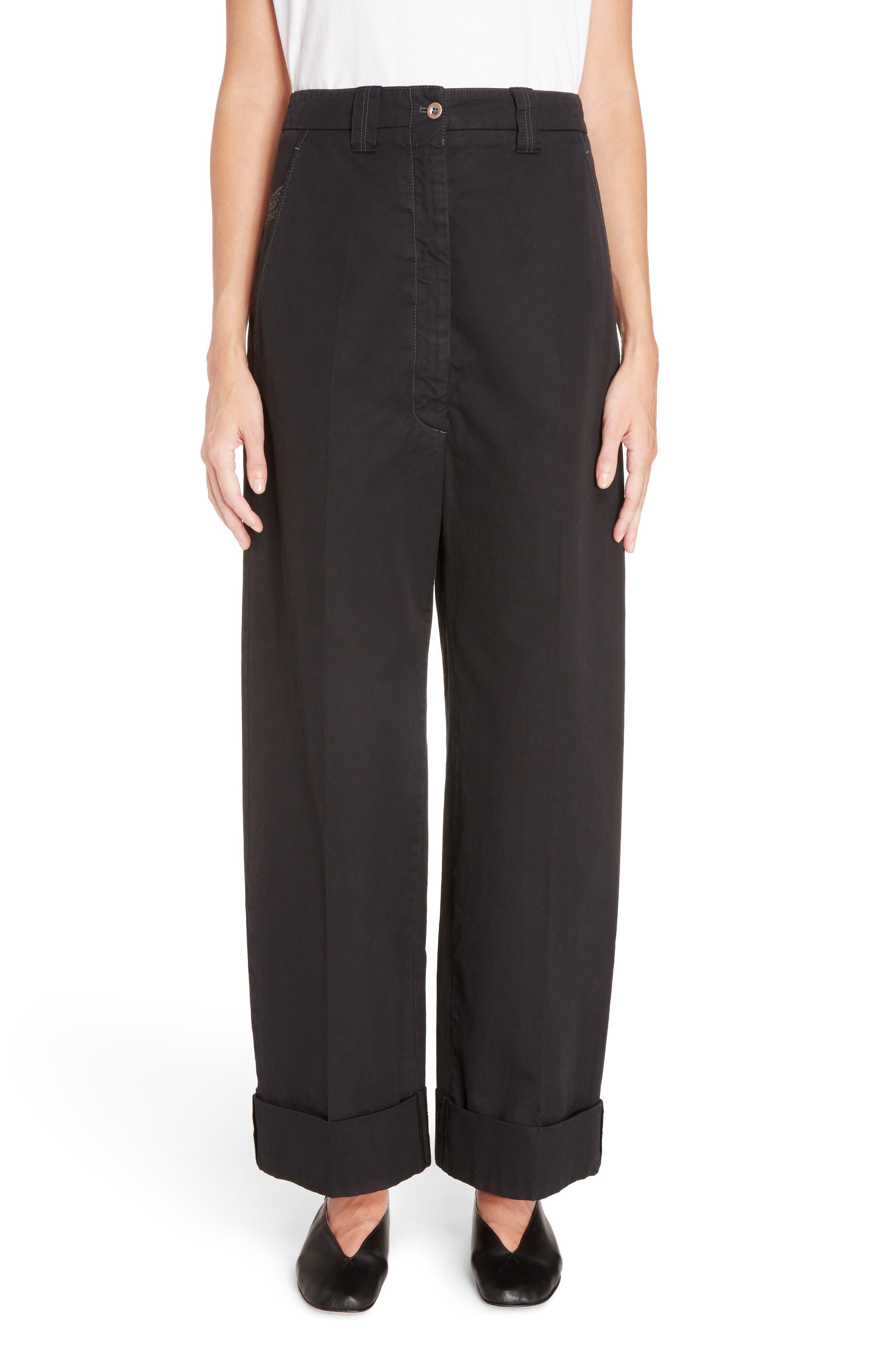 Madya Cuffed Cotton Pants,                             Main thumbnail 1, color,                             Black