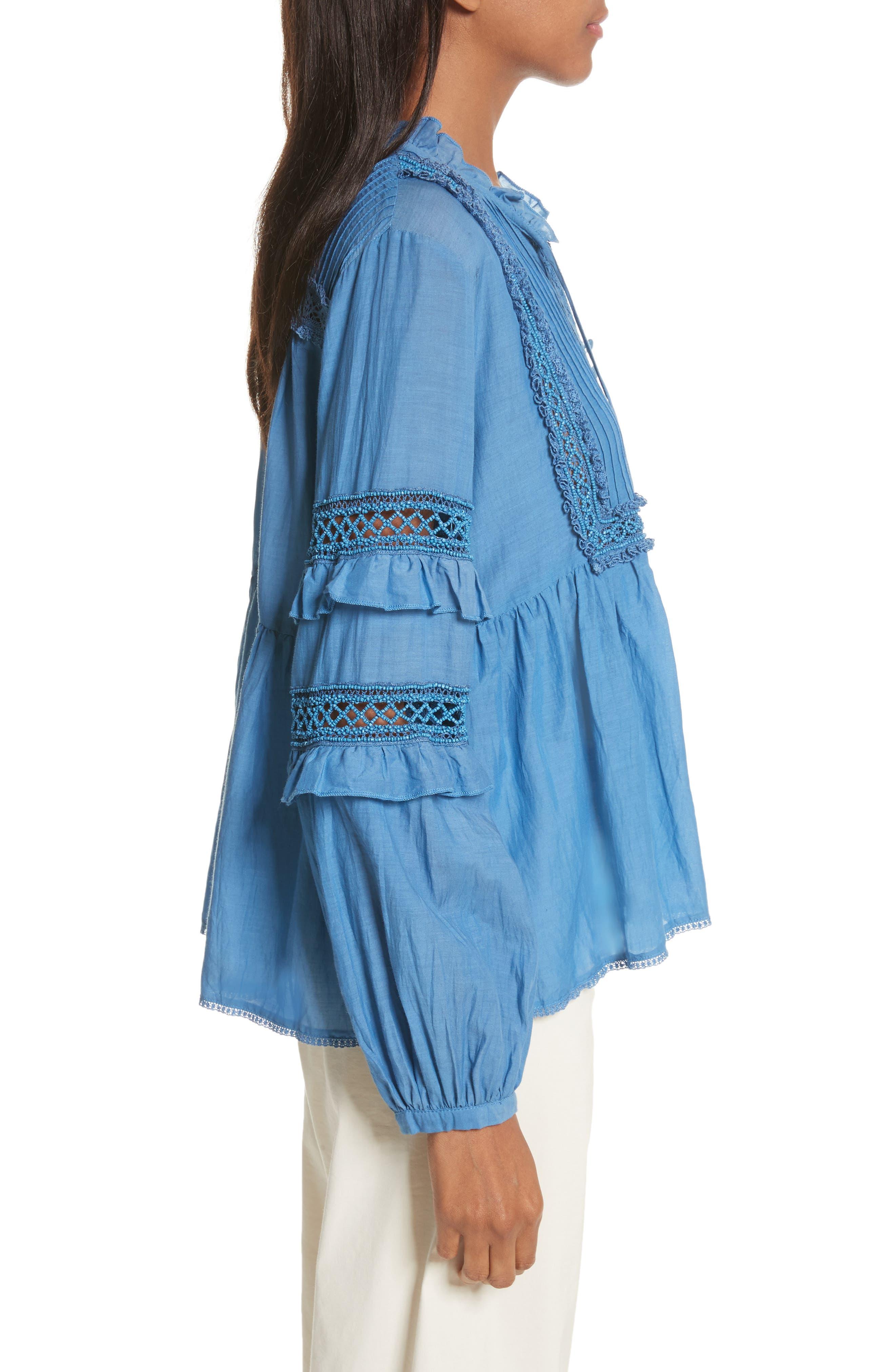 Adaline Ruffle Cotton Blouse,                             Alternate thumbnail 4, color,                             Blue