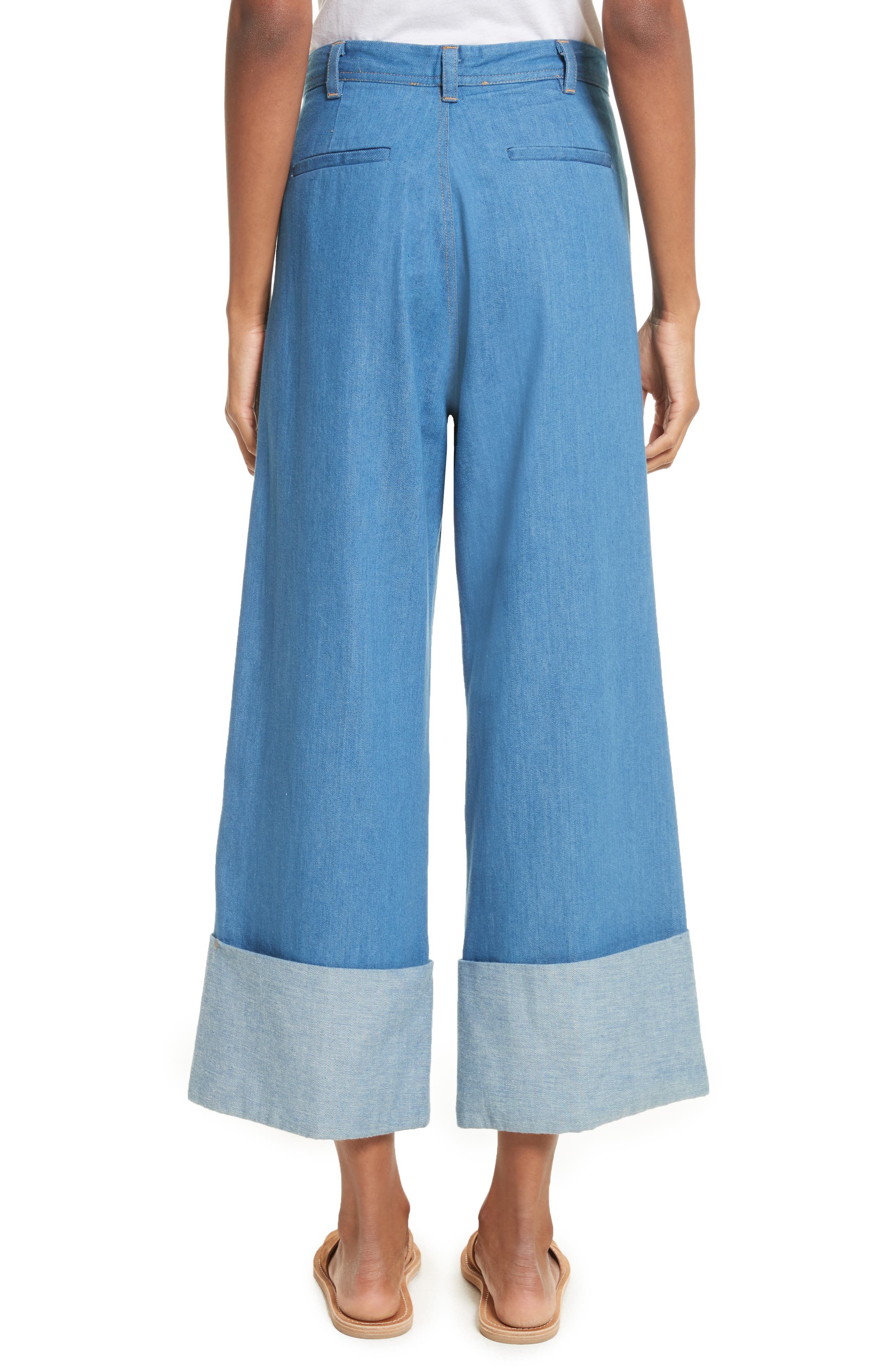 Classic Cuffed Wide Leg Jeans,                             Alternate thumbnail 4, color,                             Light Indigo
