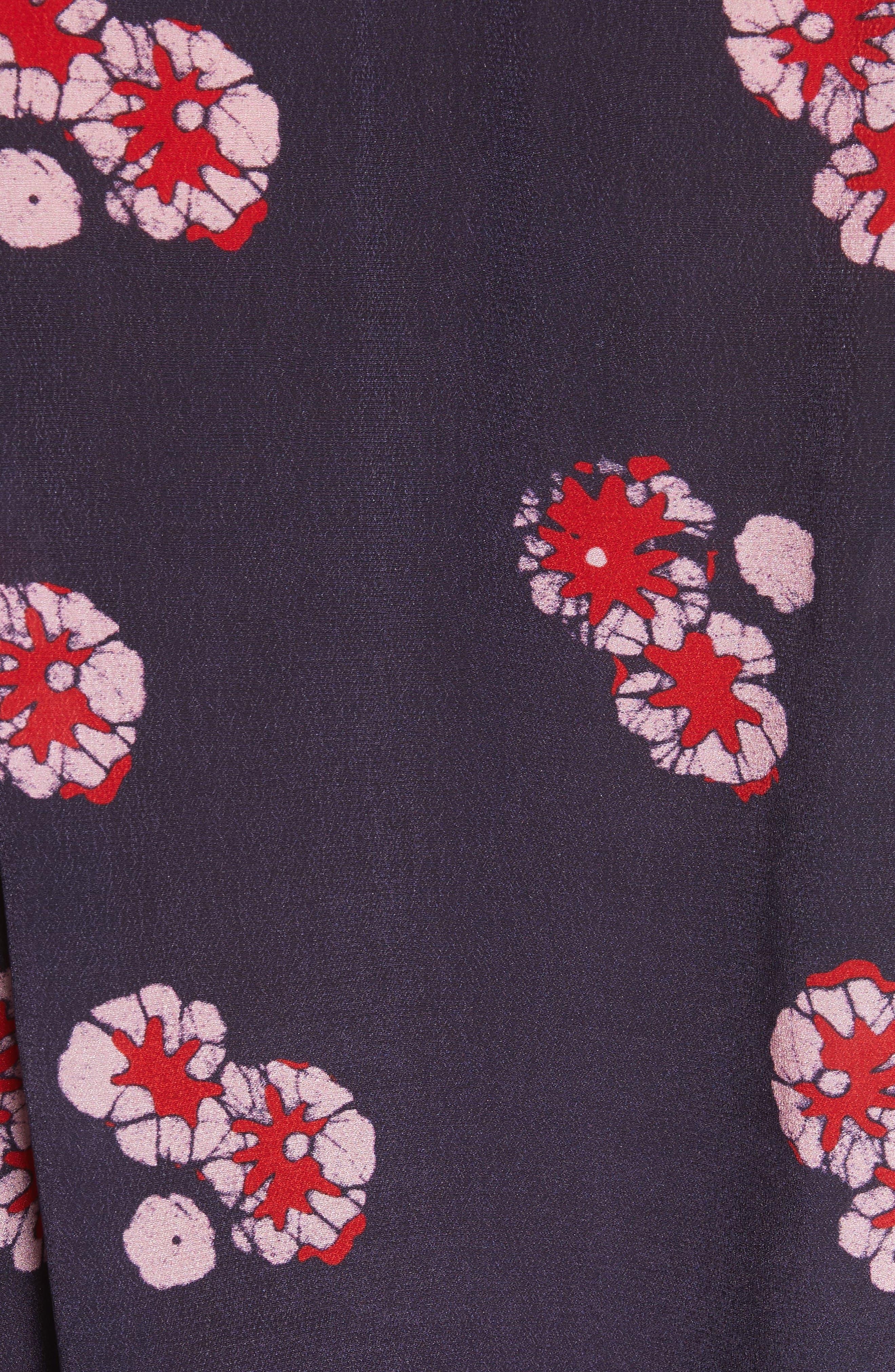Print Ruffle Sleeve Top,                             Alternate thumbnail 6, color,                             Red Multi