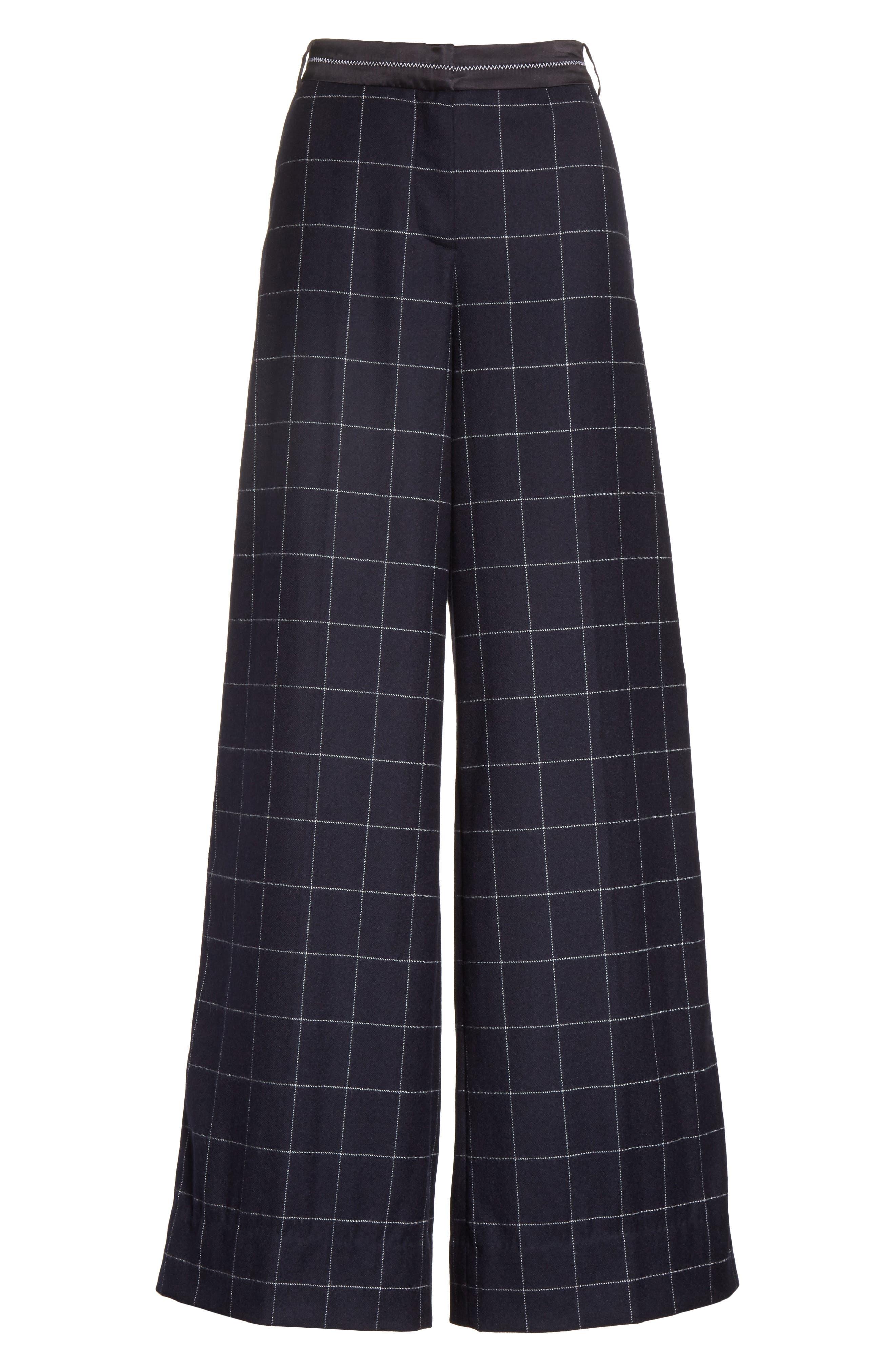Windowpane Wool Blend Wide Leg Pants,                             Alternate thumbnail 6, color,                             Navy