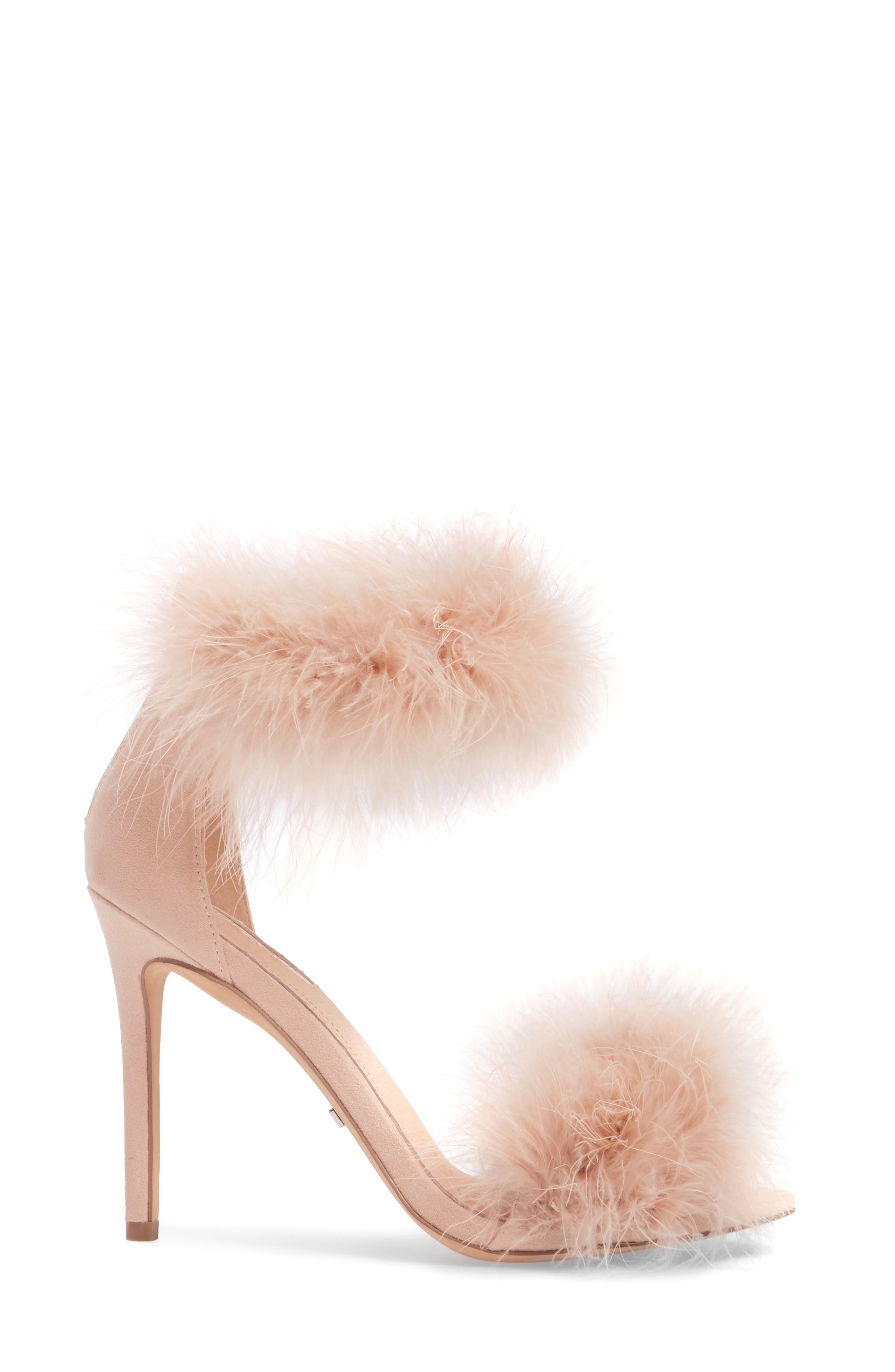 Feather Strap Sandal,                             Alternate thumbnail 3, color,                             Nude