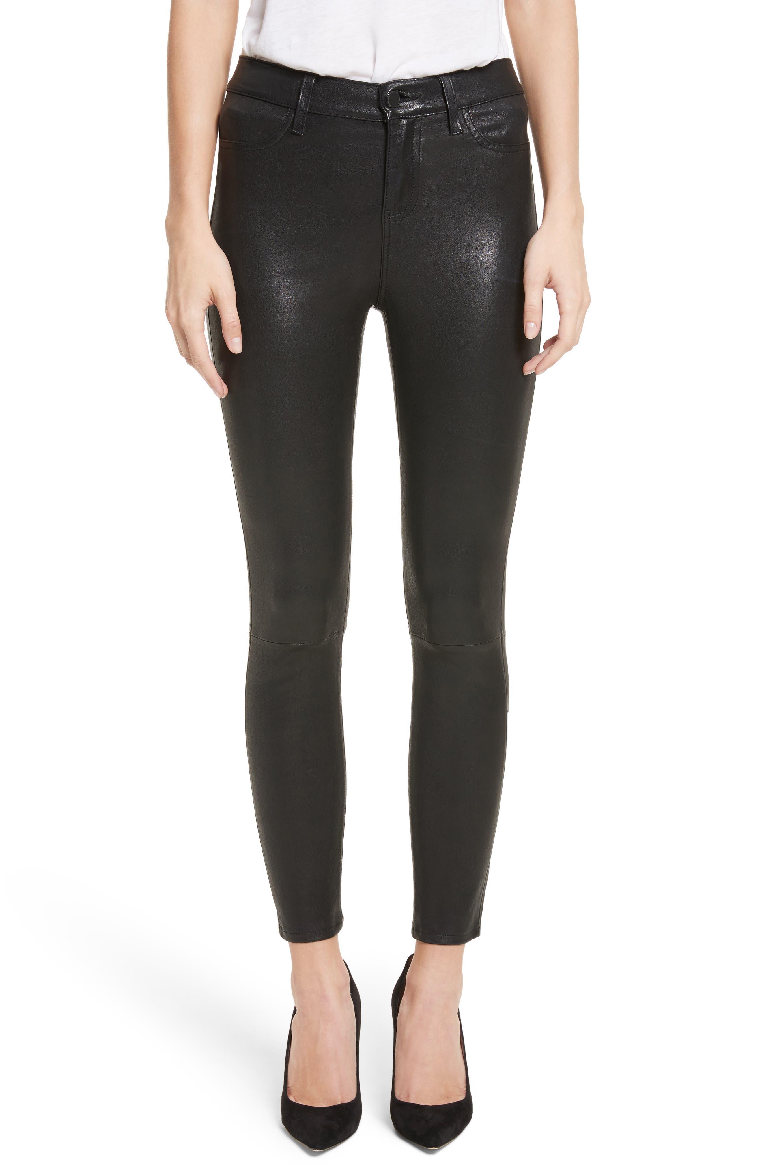 LAGENCE Adelaide High Waist Crop Leather Jeans,                             Main thumbnail 1, color,                             Noir
