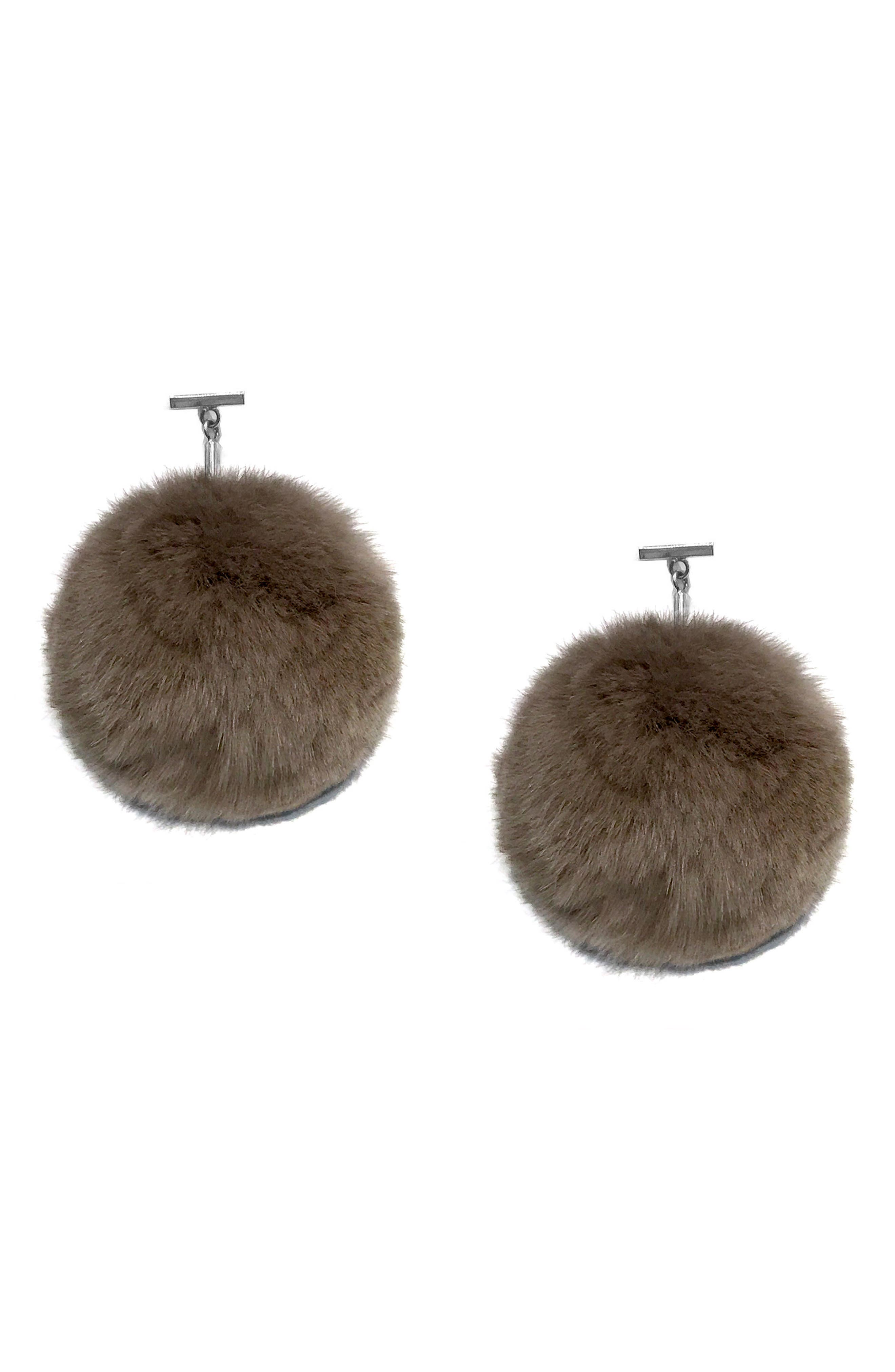 Pompom Drop Earrings,                         Main,                         color, Silver/ Taupe