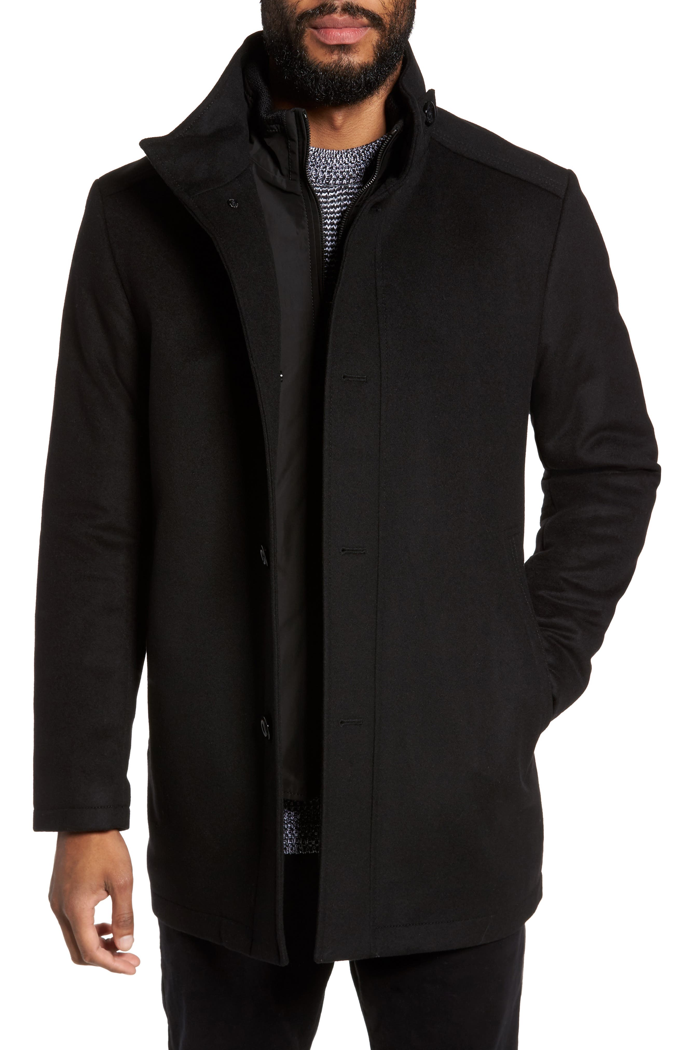 C-Coxtan Wool Blend Coat with Insert,                         Main,                         color, Black